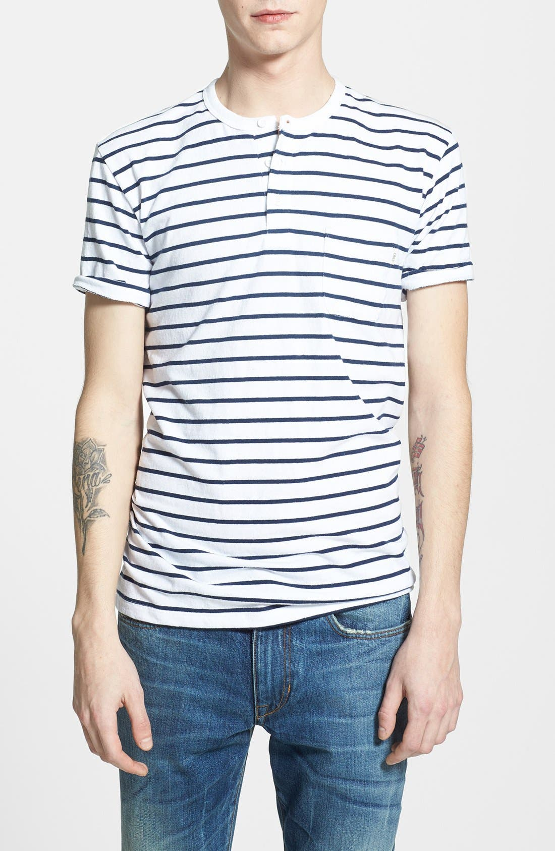 Alternate Image 1 Selected - Obey 'Charter' Short Sleeve Stripe Henley T-Shirt