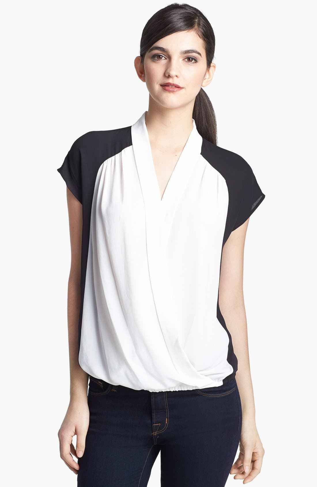 Alternate Image 1 Selected - Ro & De Colorblock Faux Wrap Blouse (Petite)