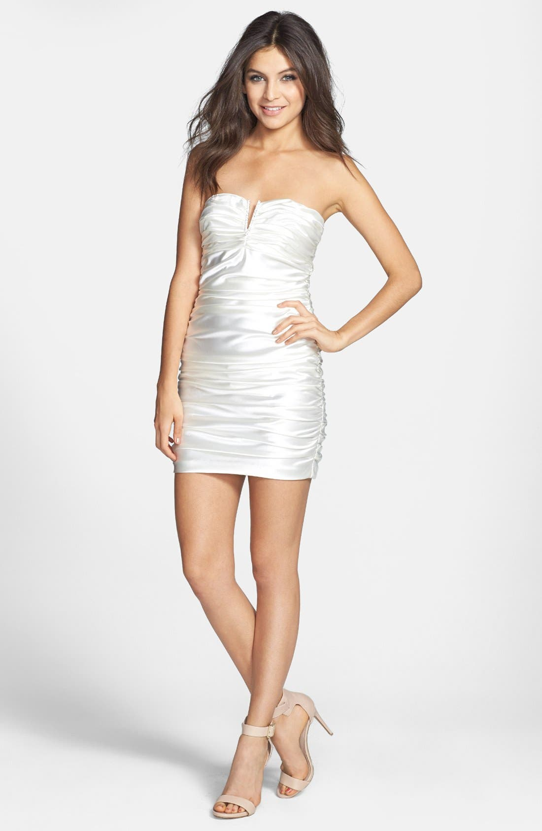 Main Image - Hailey Logan Strapless Ruched Body-Con Dress (Juniors)