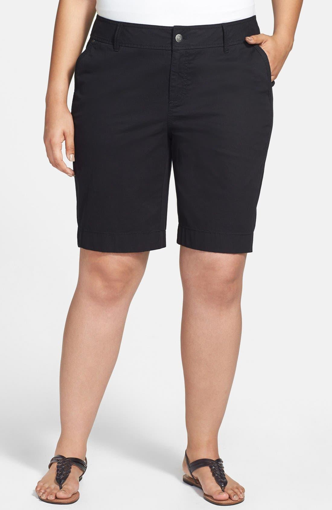 Main Image - Sejour 'Megan' Stretch Cotton Bermuda Shorts (Plus Size)