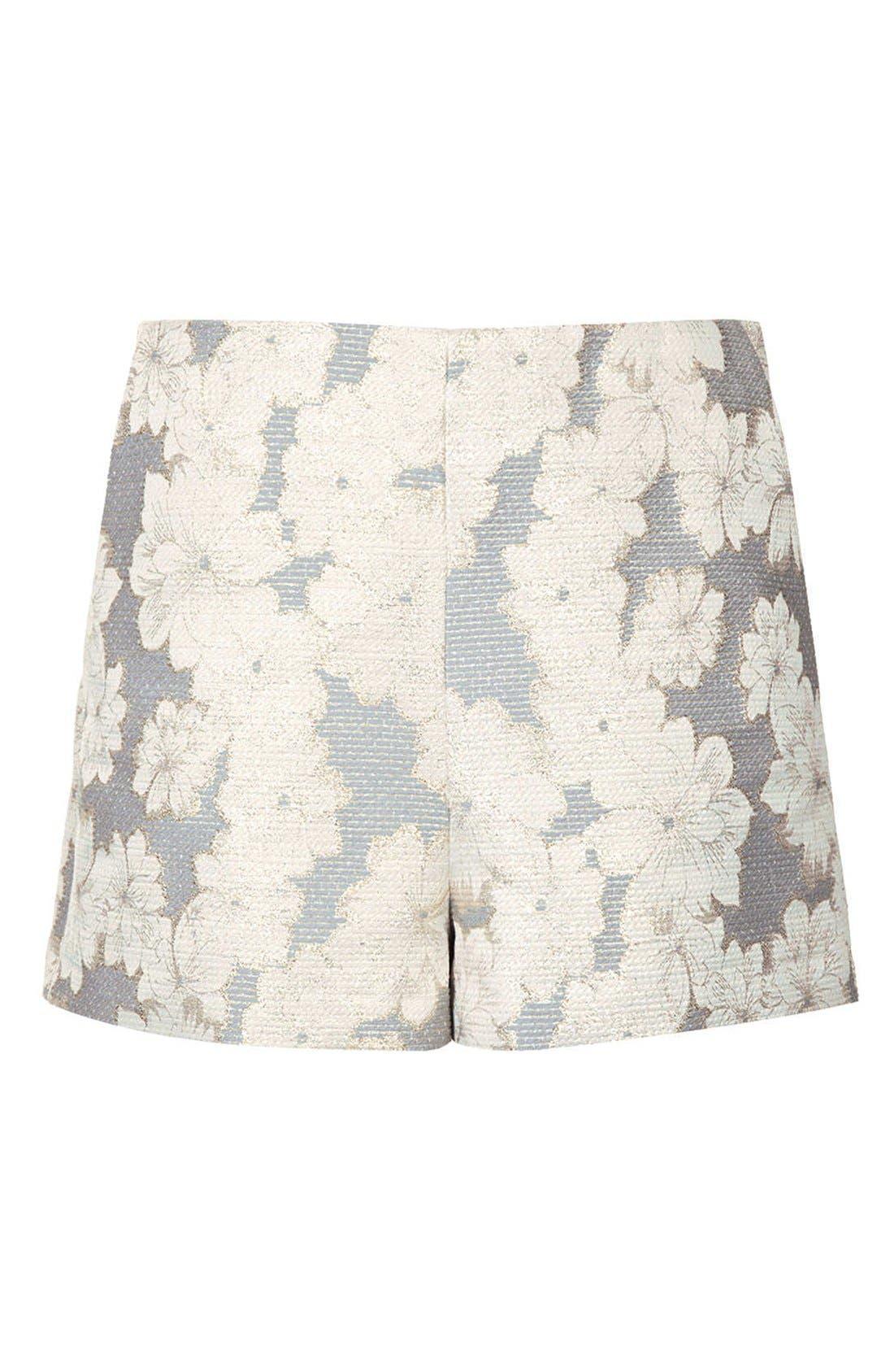 Alternate Image 3  - Topshop Metallic Floral Jacquard High Rise Shorts