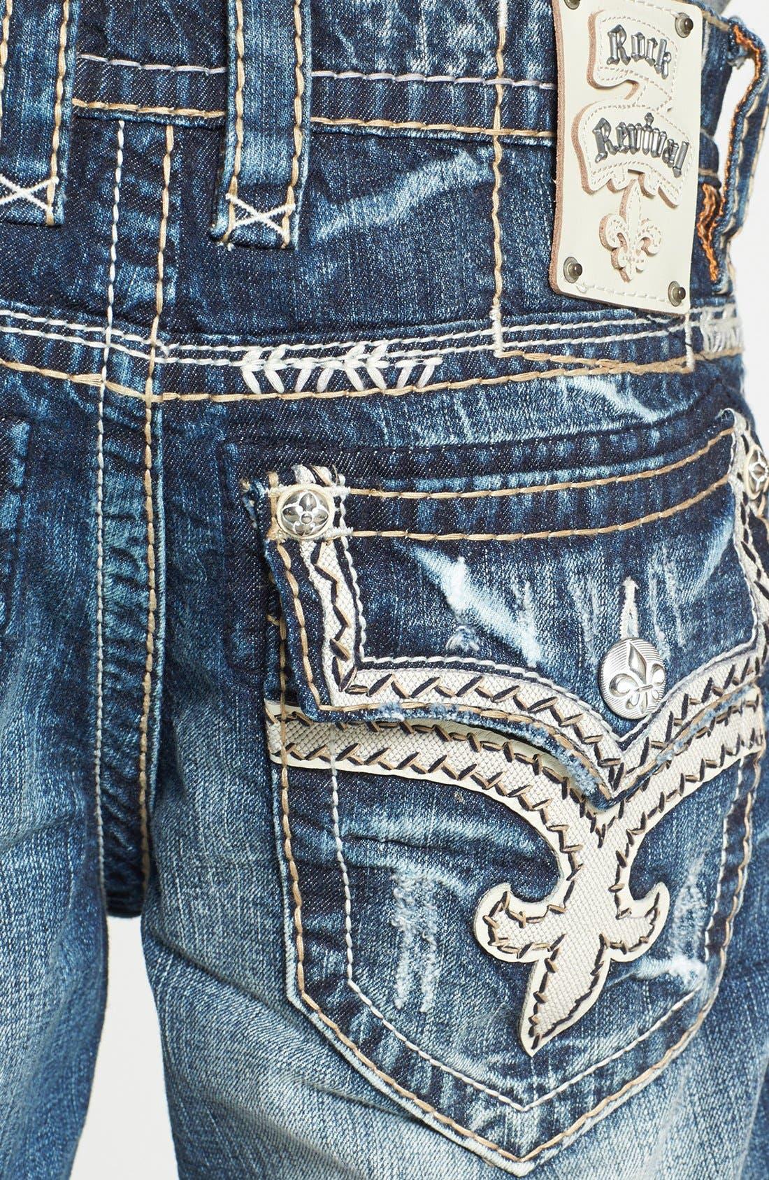 Alternate Image 4  - Rock Revival 'Teo' Straight Leg Jeans (Medium Blue)