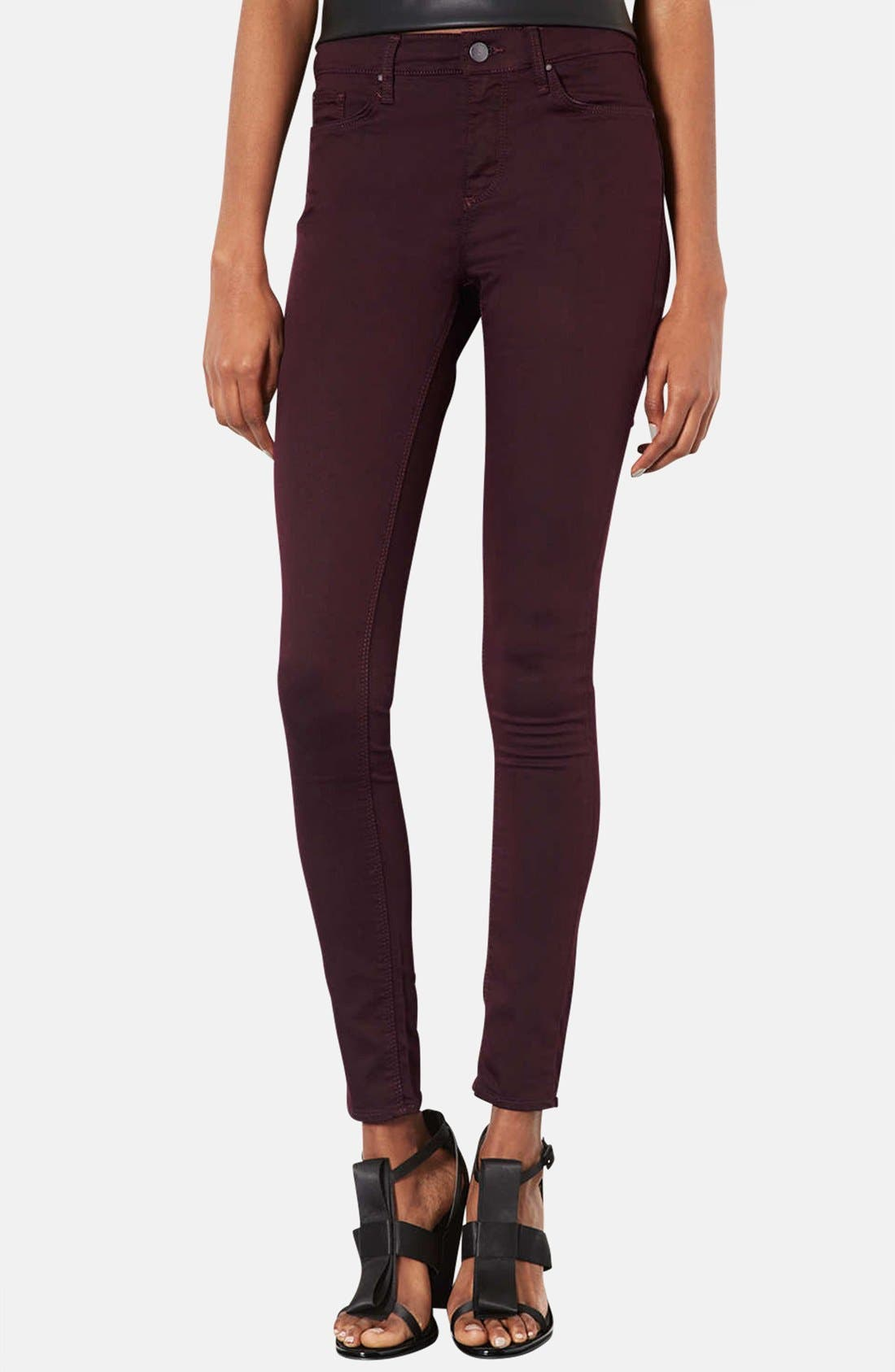 Alternate Image 1 Selected - Topshop Moto 'Leigh' Aubergine Skinny Jeans