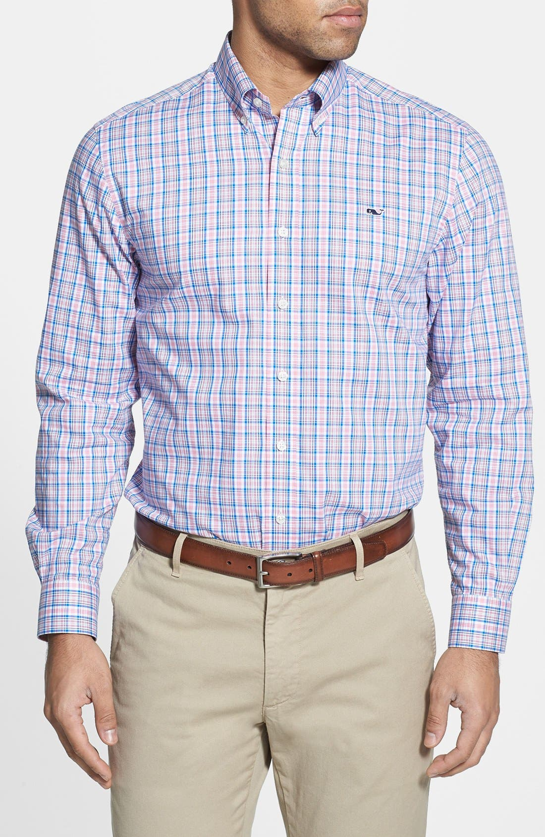 Alternate Image 1 Selected - Vineyard Vines 'Whale - Bayberry' Check Slim Fit Sport Shirt