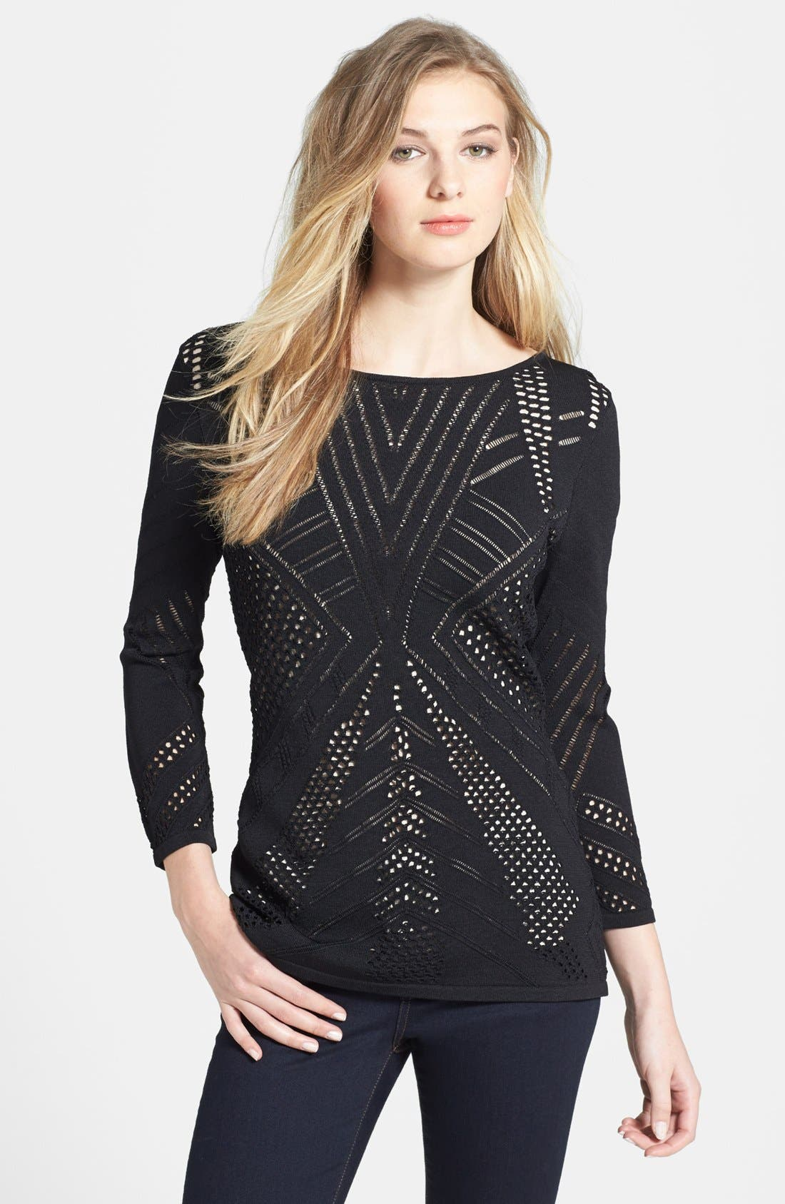 Alternate Image 1 Selected - Calvin Klein Crochet Sweater