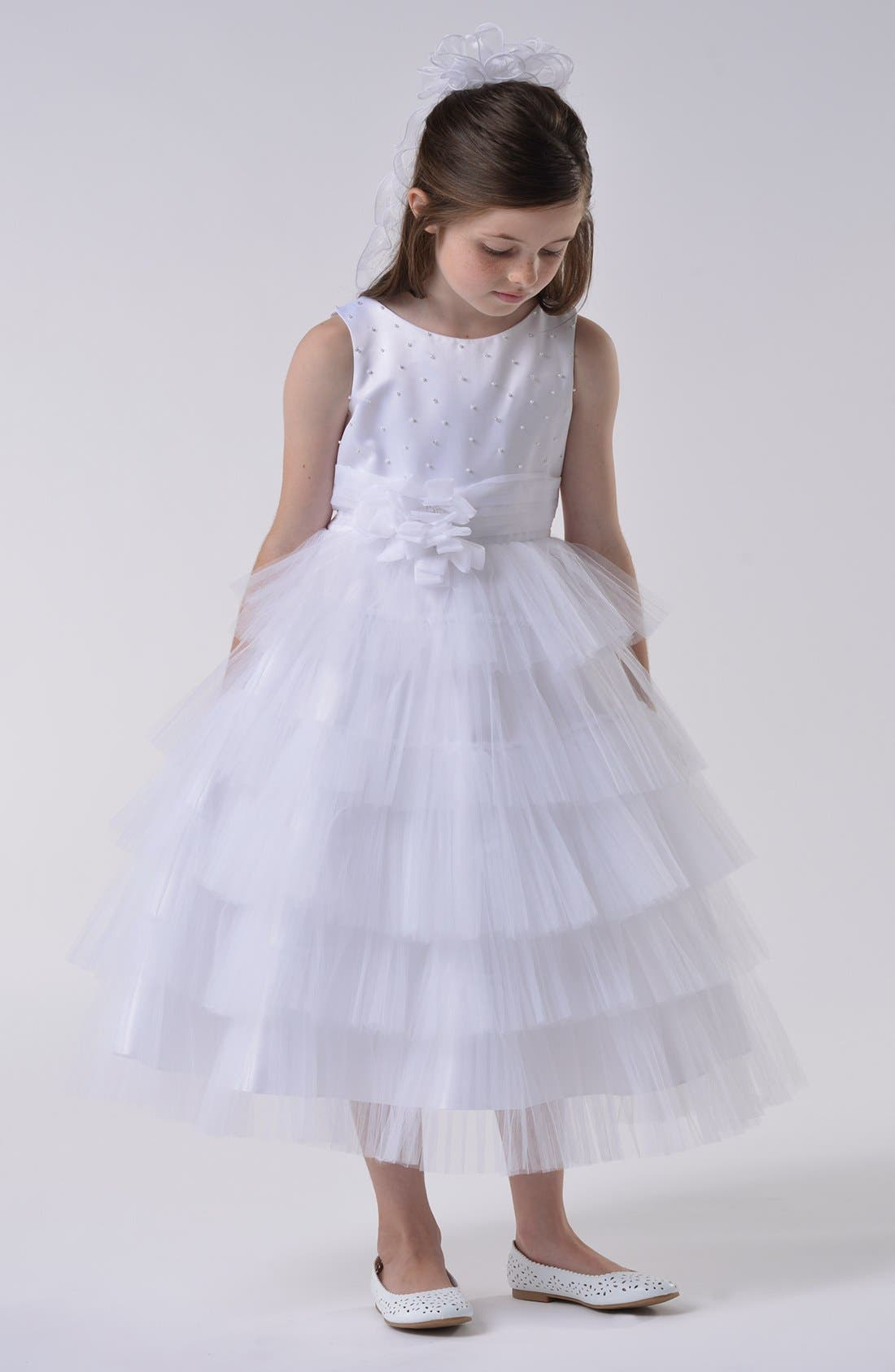 Alternate Image 2  - Us Angels Communion Dress (Little Girls & Big Girls)