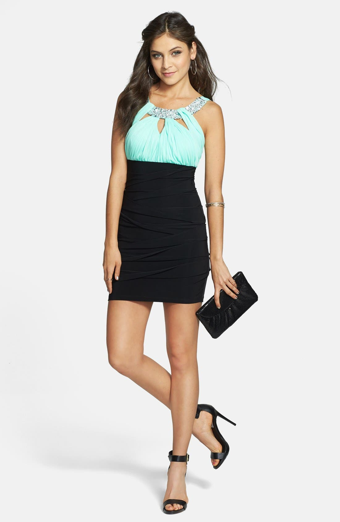 Alternate Image 1 Selected - Way-In Embellished Colorblock Body-Con Dress (Juniors) (Online Only)