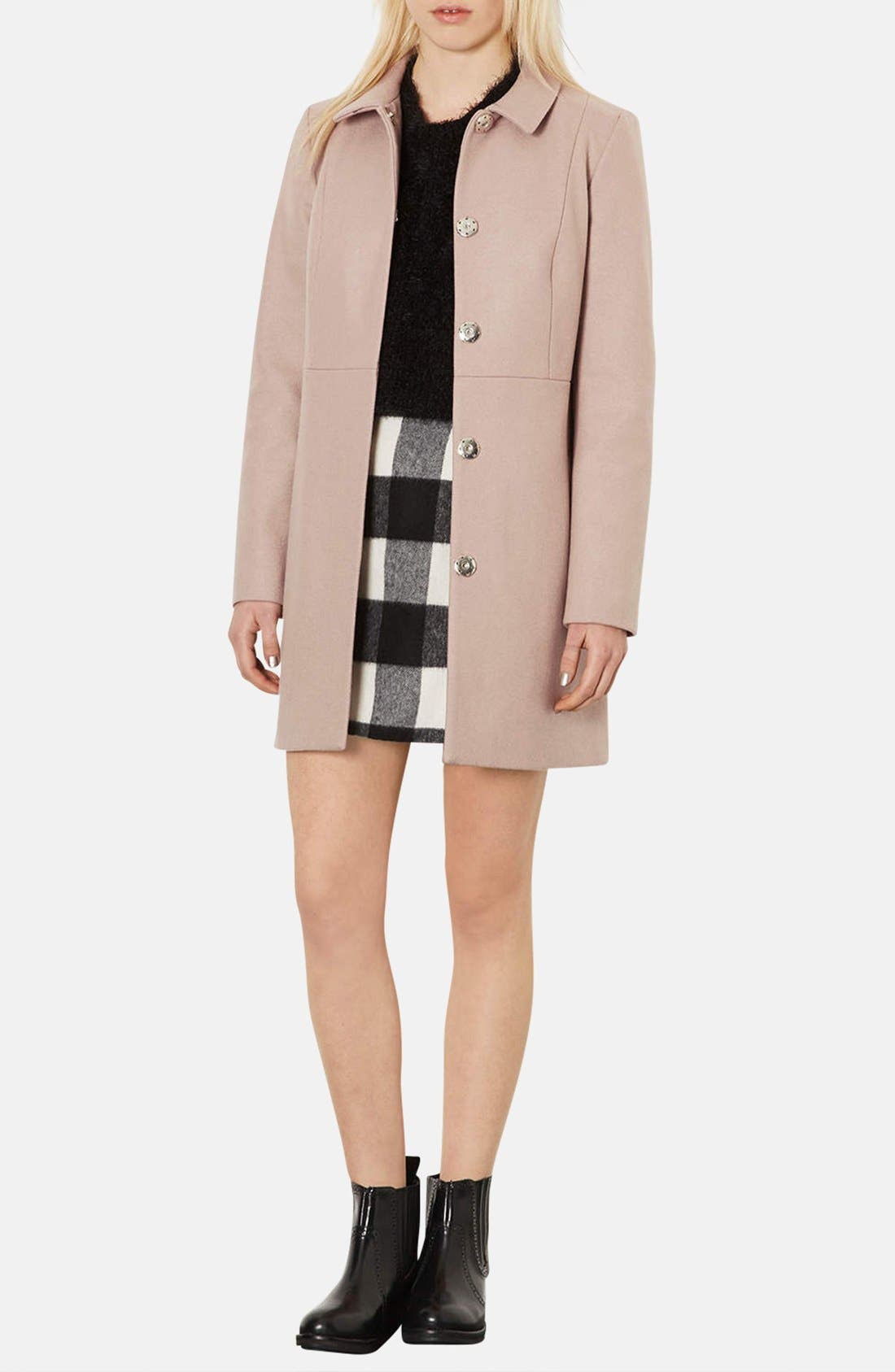 Alternate Image 4  - Topshop Brushed Gingham A-Line Skirt