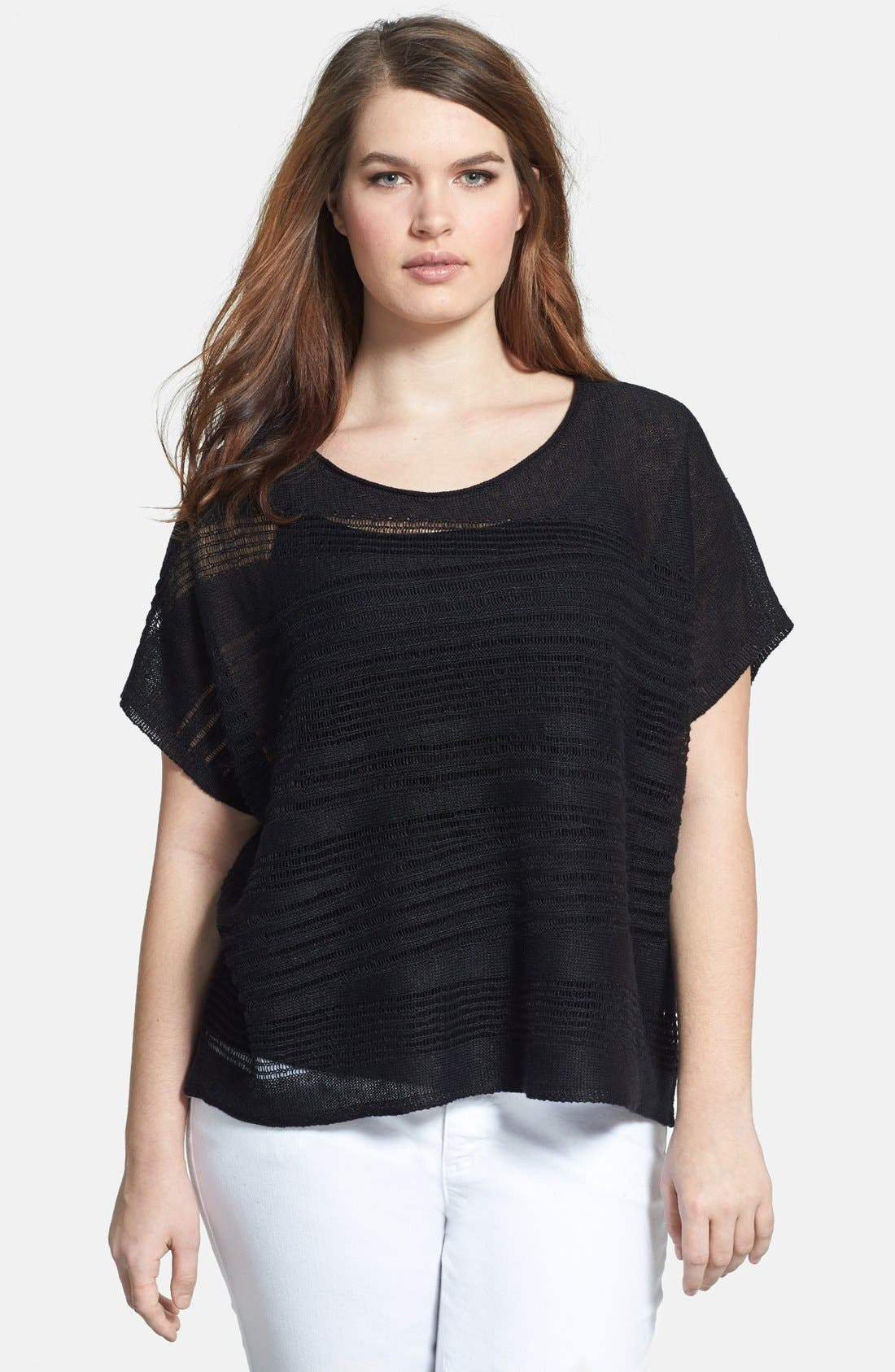 Alternate Image 1 Selected - Eileen Fisher Bateau Neck Pointelle Knit Organic Linen Top (Plus Size)