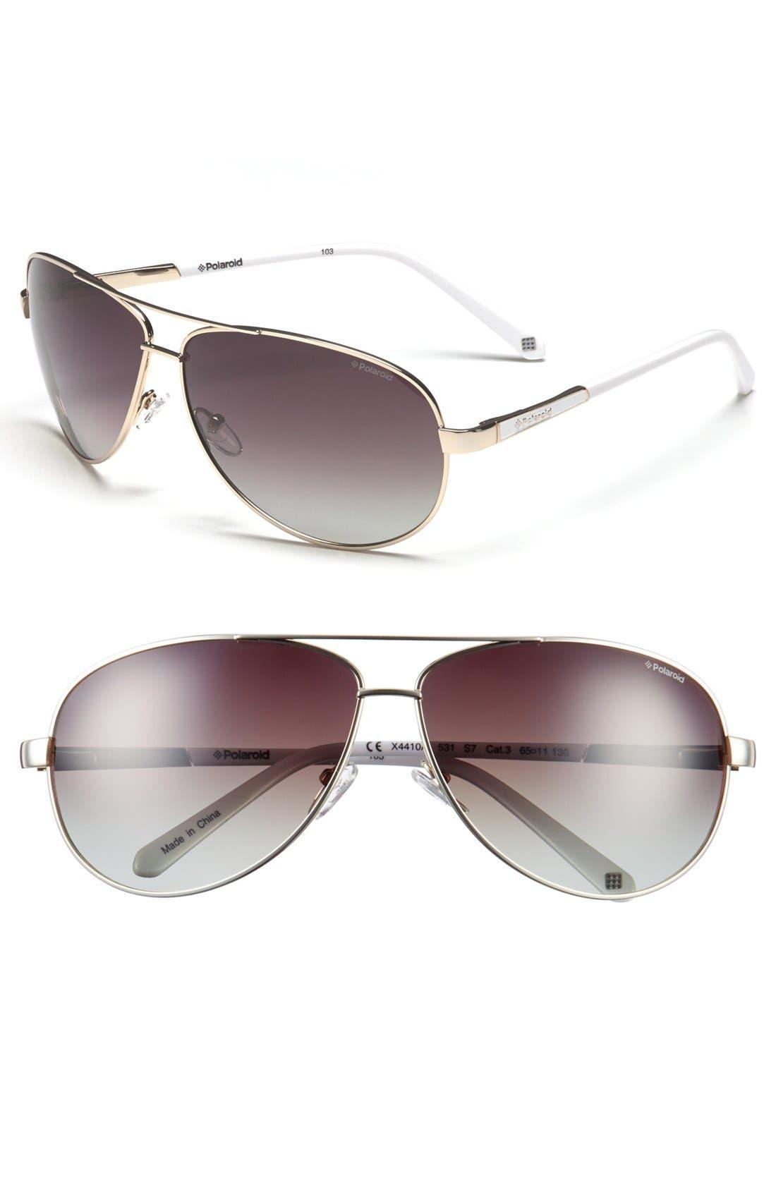 Main Image - Polaroid Eyewear 65mm Polarized Aviator Sunglasses