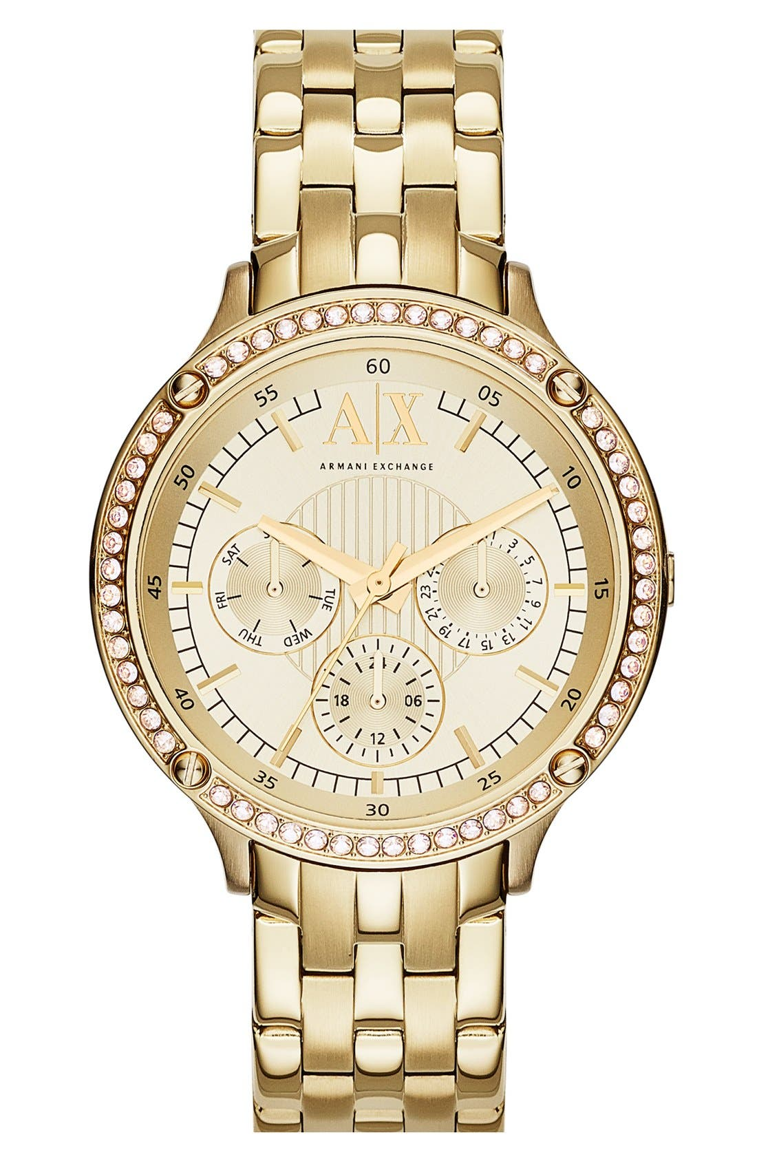 Alternate Image 1 Selected - AX Armani Exchange Crystal Bezel Multifunction Bracelet Watch, 40mm