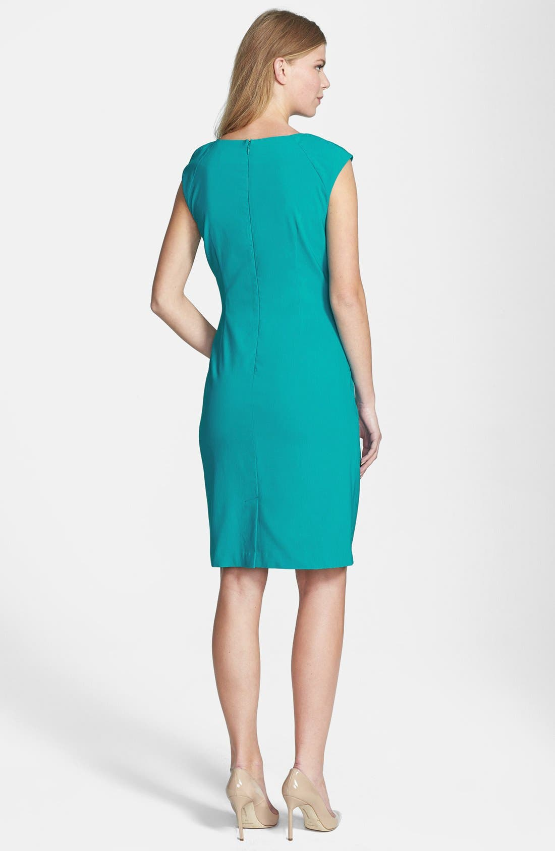 Alternate Image 3  - Adrianna Papell Side Pleat Sheath Dress (Regular & Petite)