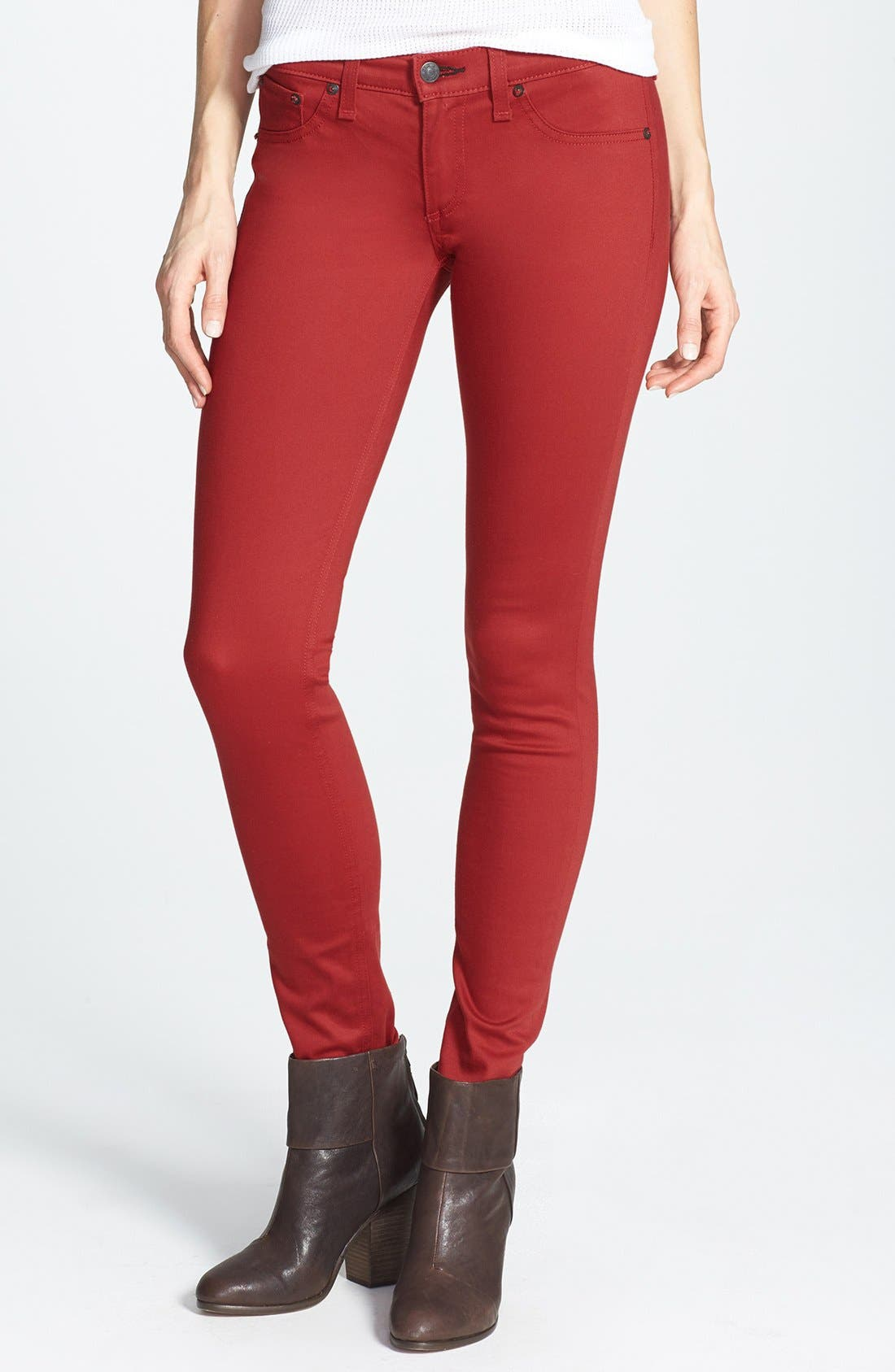 Main Image - rag & bone/JEAN 'The Legging' Sateen Skinny Jeans (Red Sateen)