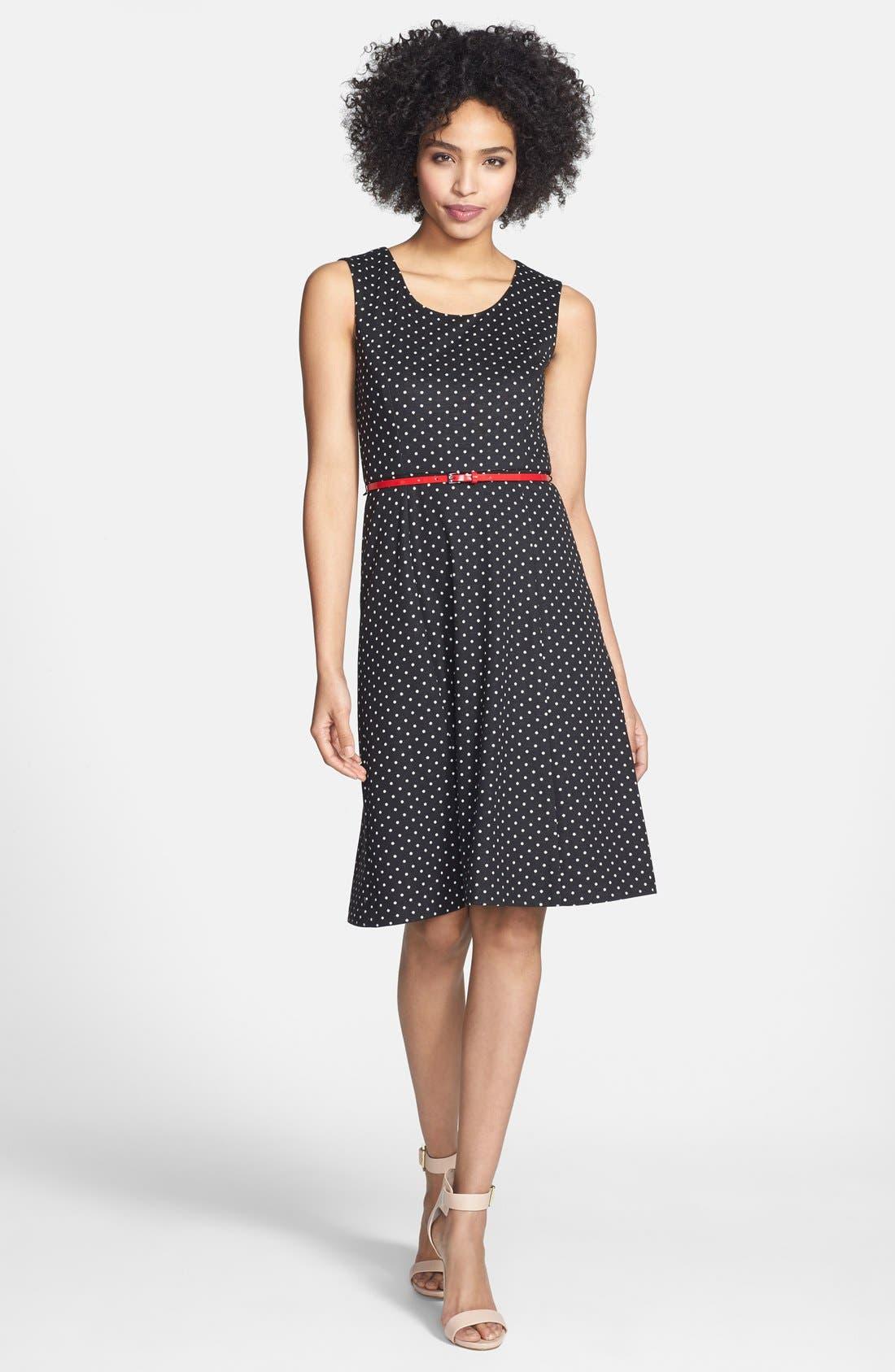 Main Image - Anne Klein Belted Polka Dot Ponte Dress (Regular & Petite)