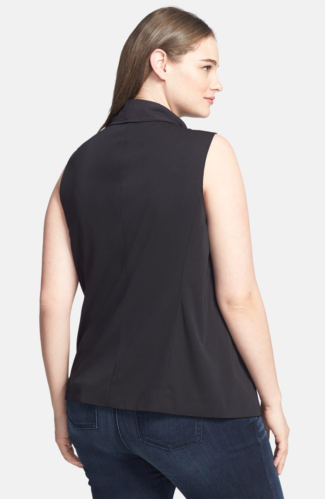Alternate Image 2  - DKNYC Draped Asymmetrical Zip Sleeveless Top (Plus Size)