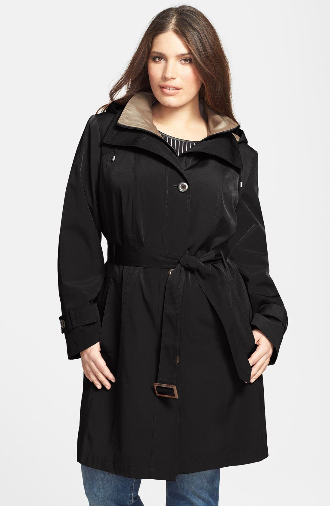 Main Image - Gallery Two-Tone Belted Walking Coat with Detachable Hood (Plus Size)