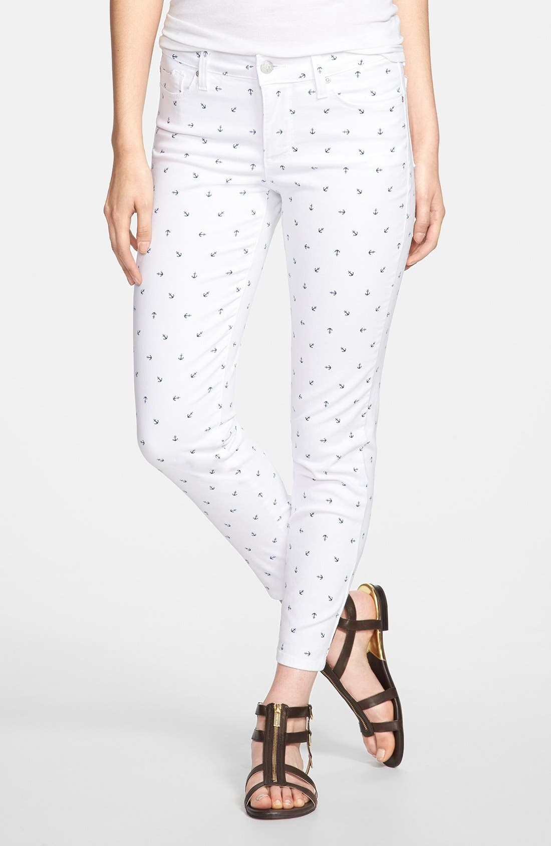 Alternate Image 1 Selected - NYDJ 'Clarissa' Print Fitted Stretch Ankle Jeans (Optic White Anchors) (Regular & Petite)