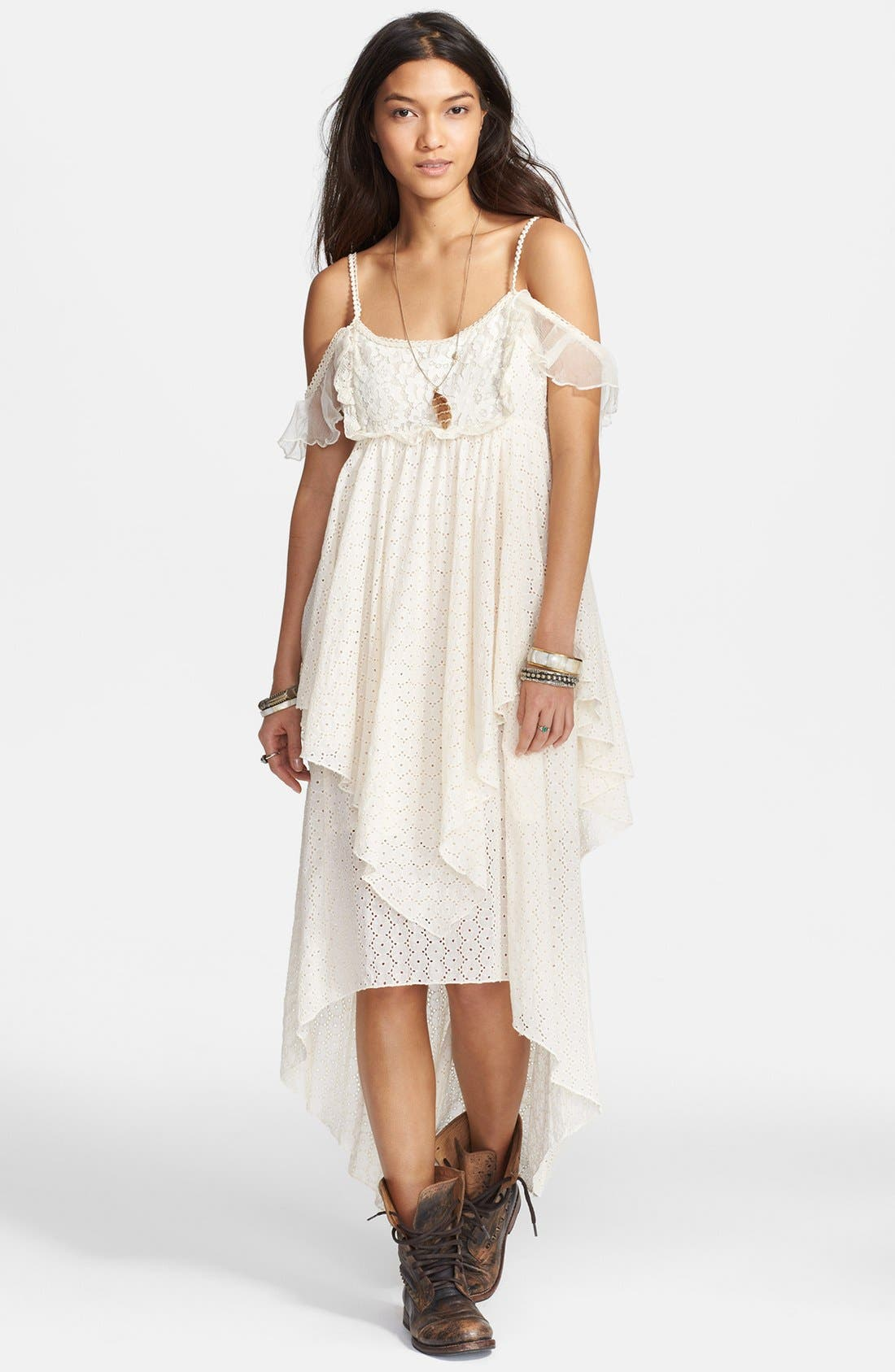 Alternate Image 1 Selected - Free People 'Candle Light' Eyelet Midi Dress
