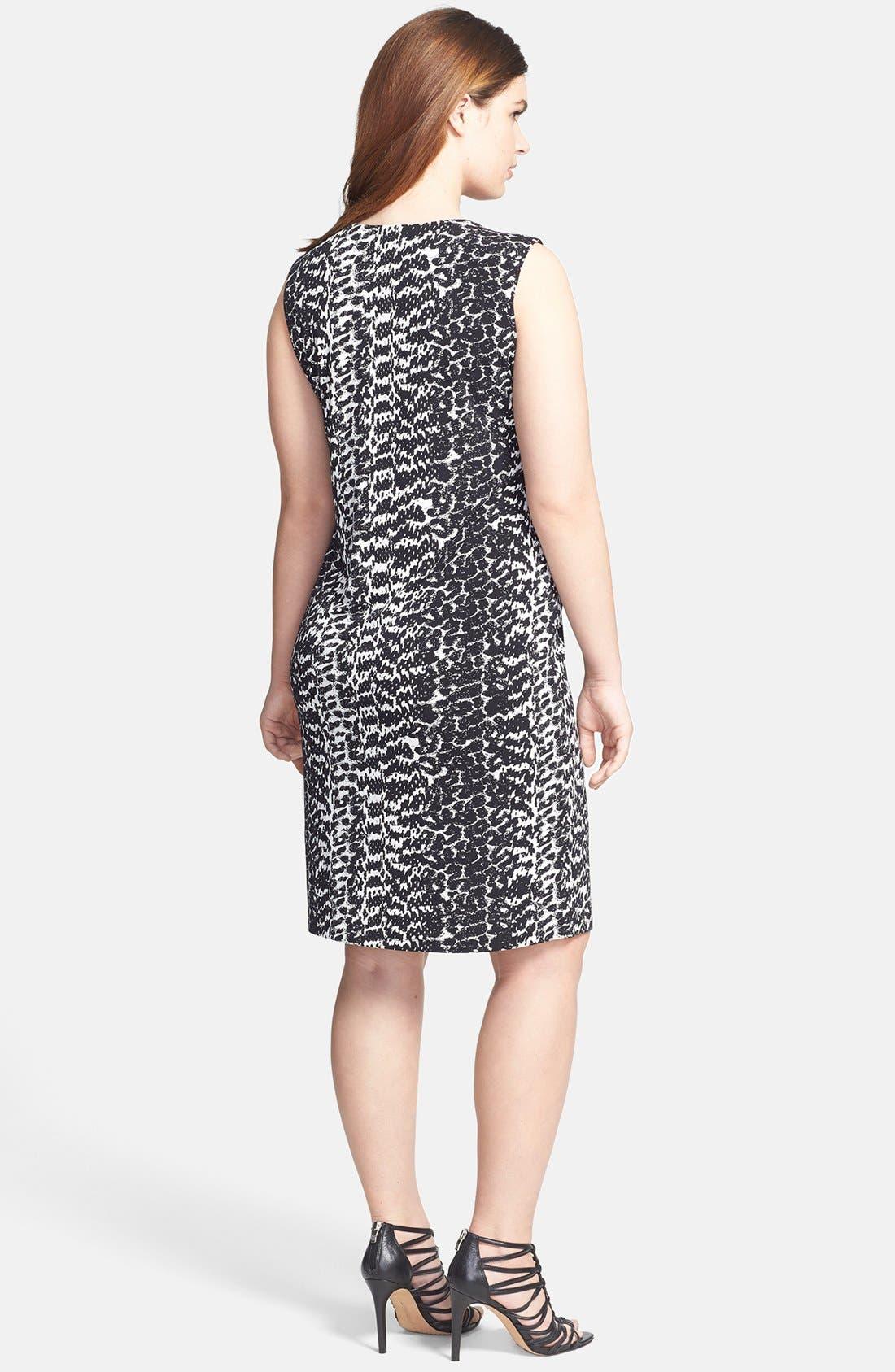 Alternate Image 2  - Vince Camuto 'Animal Tracks' Sleeveless Sheath Dress (Plus Size)