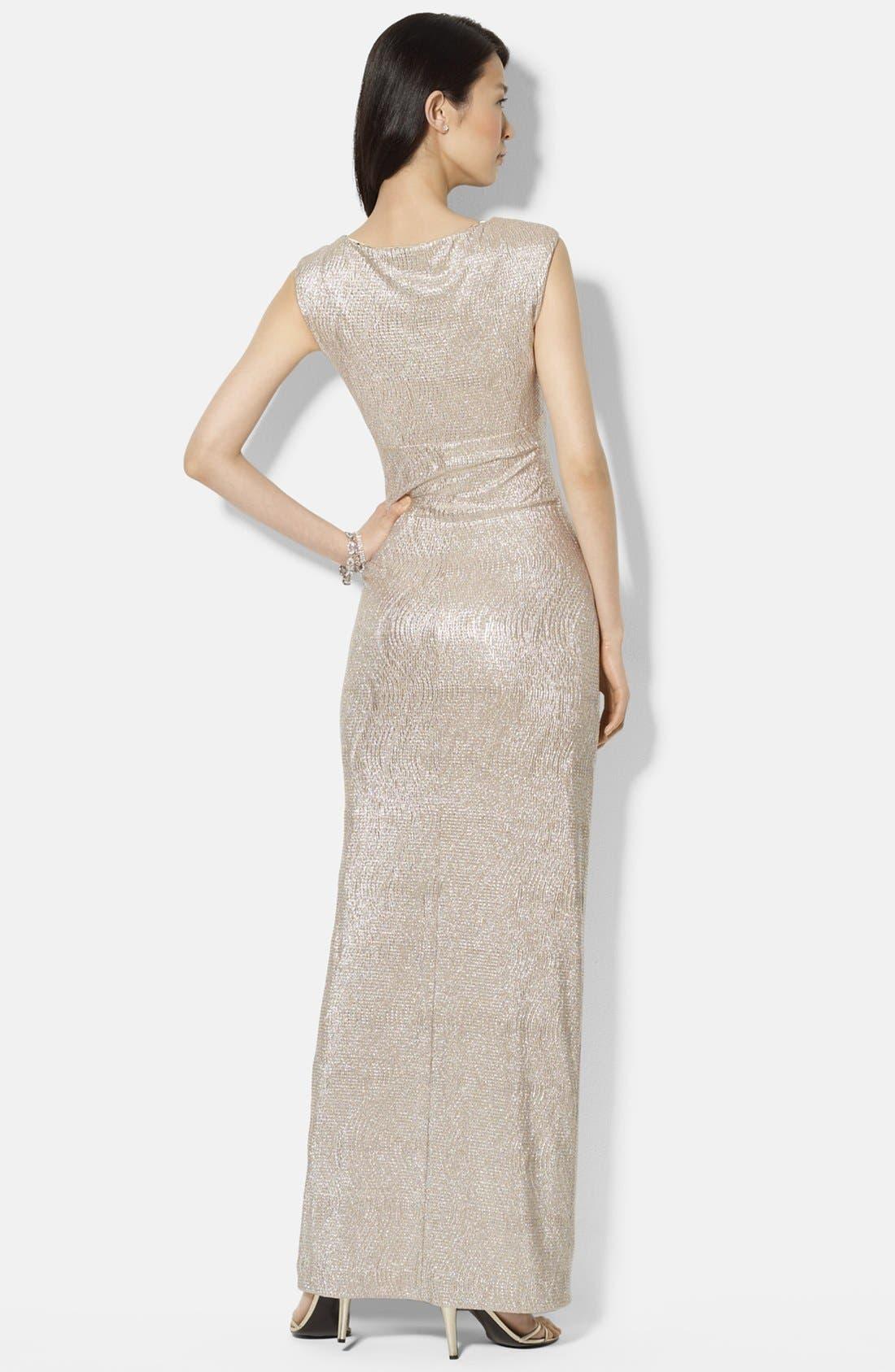 Alternate Image 2  - Lauren Ralph Lauren Metallic Knit Gown (Regular & Petite)