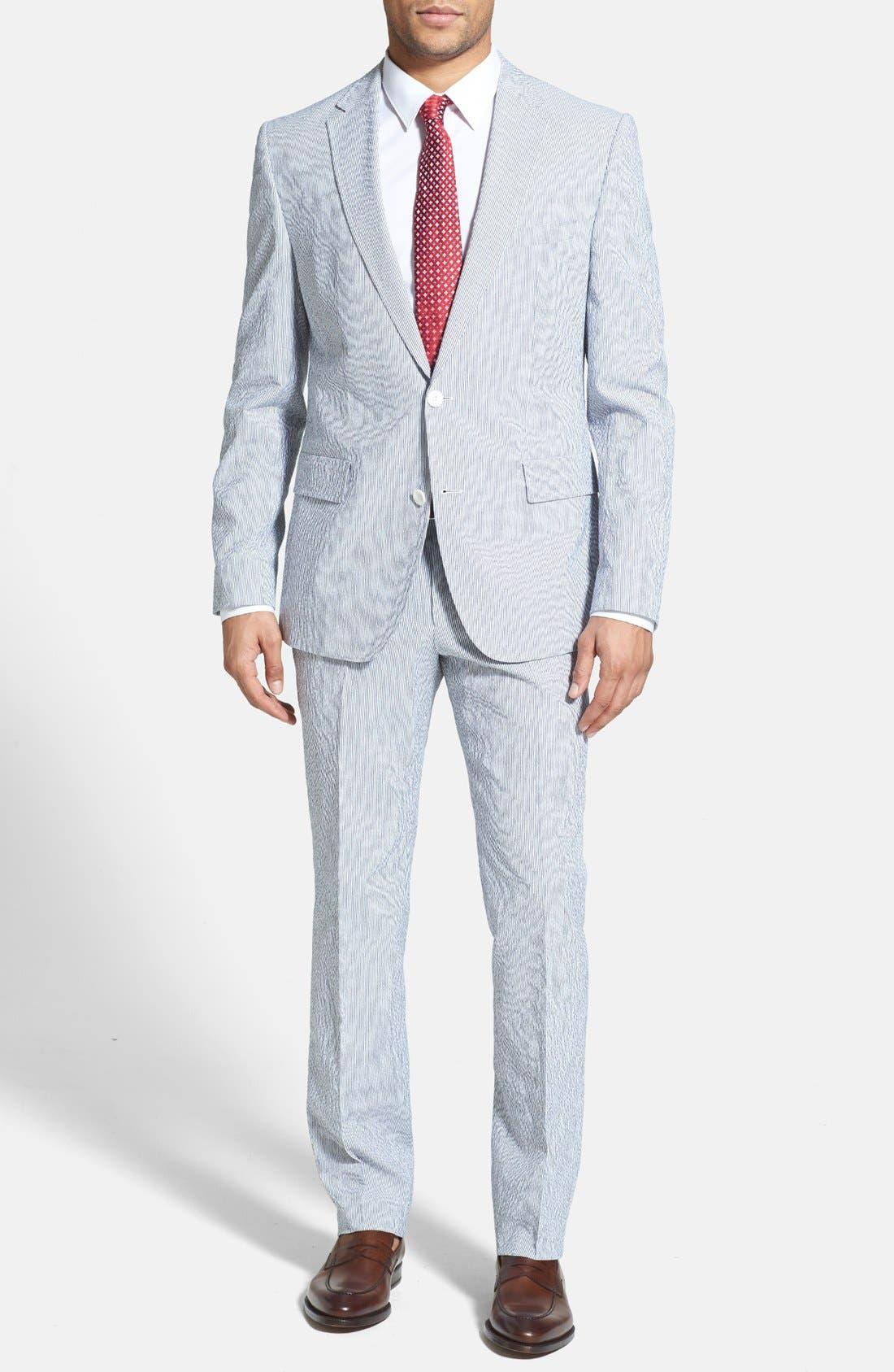 Alternate Image 1 Selected - BOSS HUGO BOSS 'Nestor/Knox' Trim Fit Stretch Cotton Suit