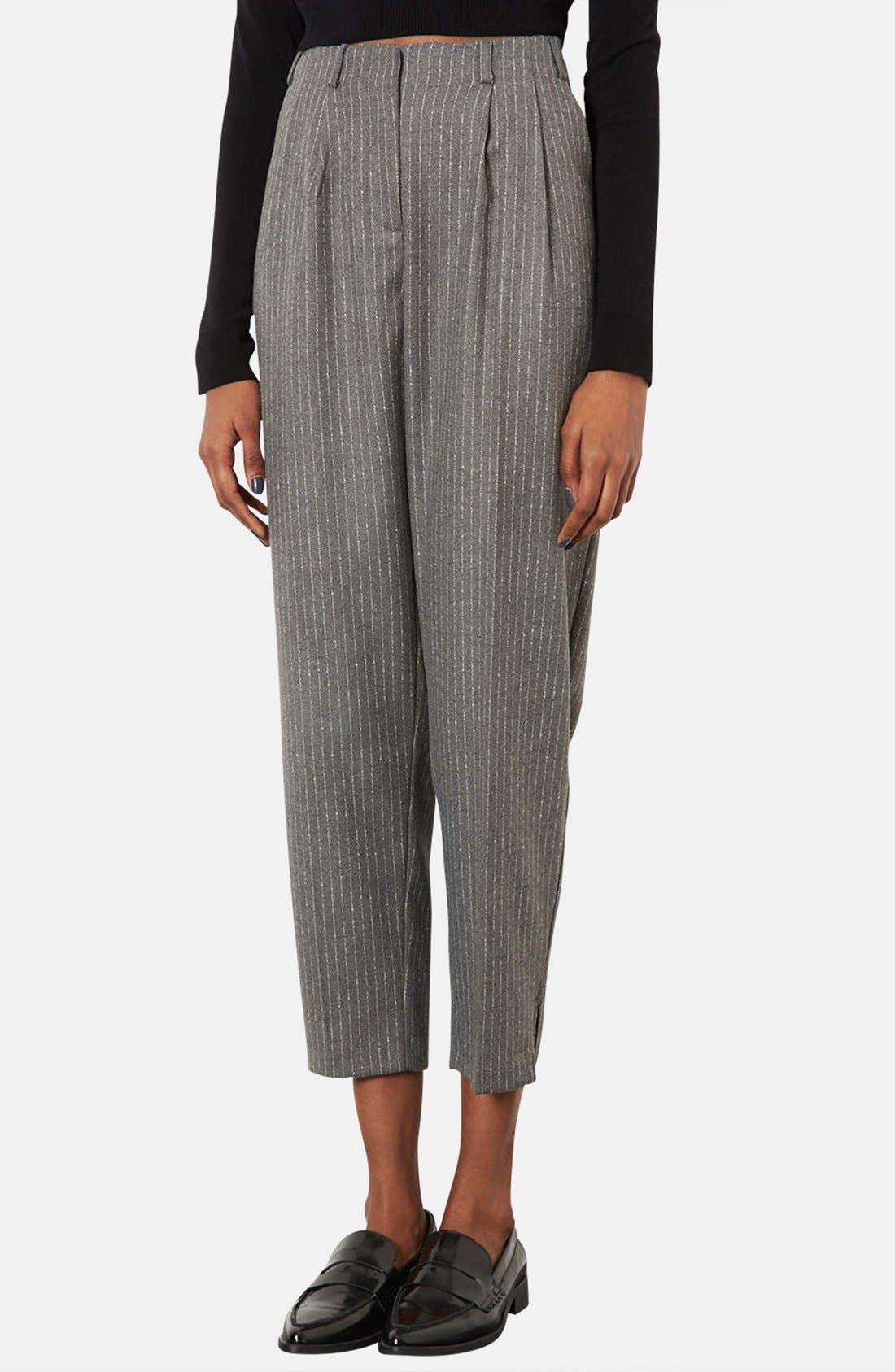 Alternate Image 1 Selected - Topshop Pinstripe Peg Leg Trousers