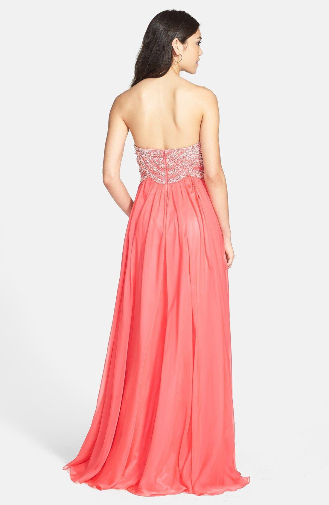 Alternate Image 2  - Sherri Hill Embellished Bodice Chiffon Gown