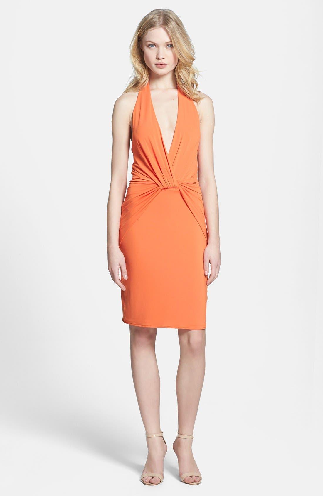 Alternate Image 2  - Halston Heritage Knotted V-Neck Jersey Dress