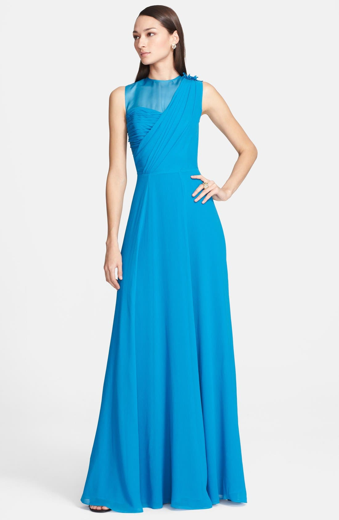 Main Image - St. John Collection Organza Inset Drape Bodice Silk Georgette Gown