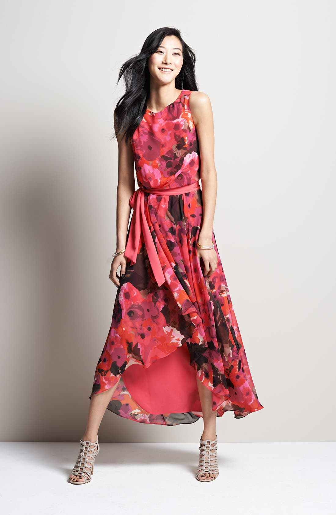 Alternate Image 4  - Eliza J Print High/Low Chiffon Dress