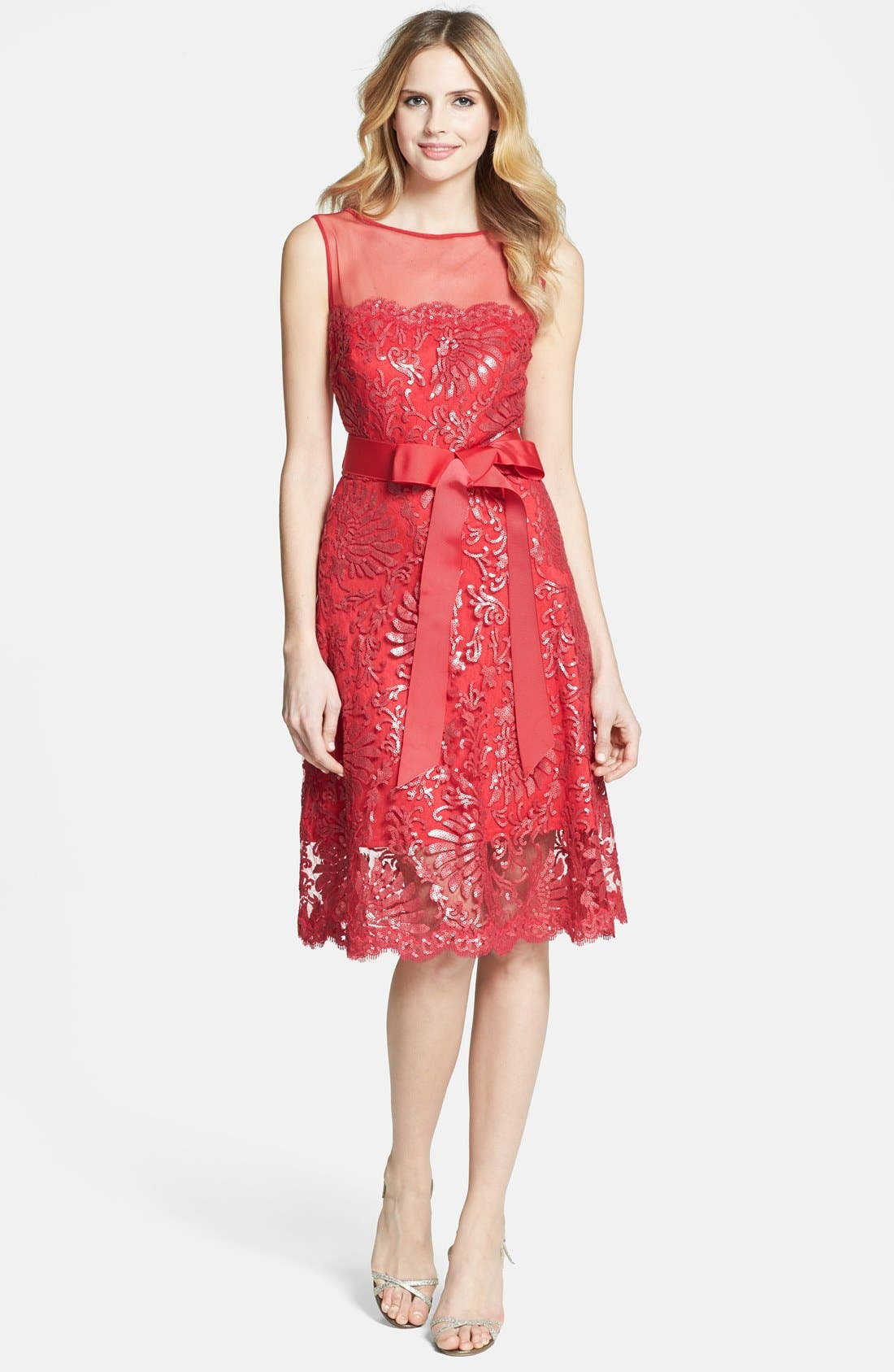 Alternate Image 3  - Tadashi Shoji Illusion Yoke Embellished Lace A-Line Dress