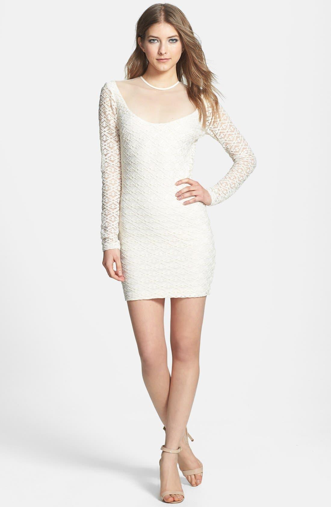 Alternate Image 4  - Dress the Population 'Jessica' Textured Metallic Body-Con Dress