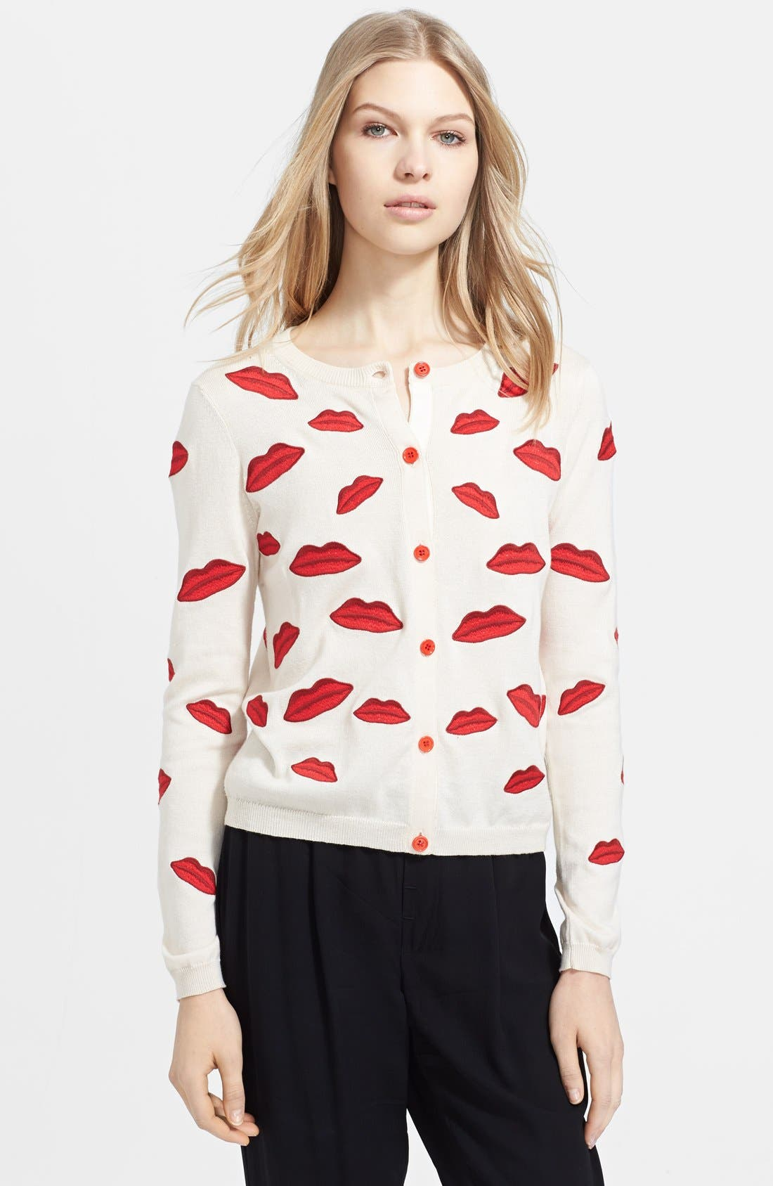 Main Image - Alice + Olivia Embroidered Appliqué Cotton Cardigan