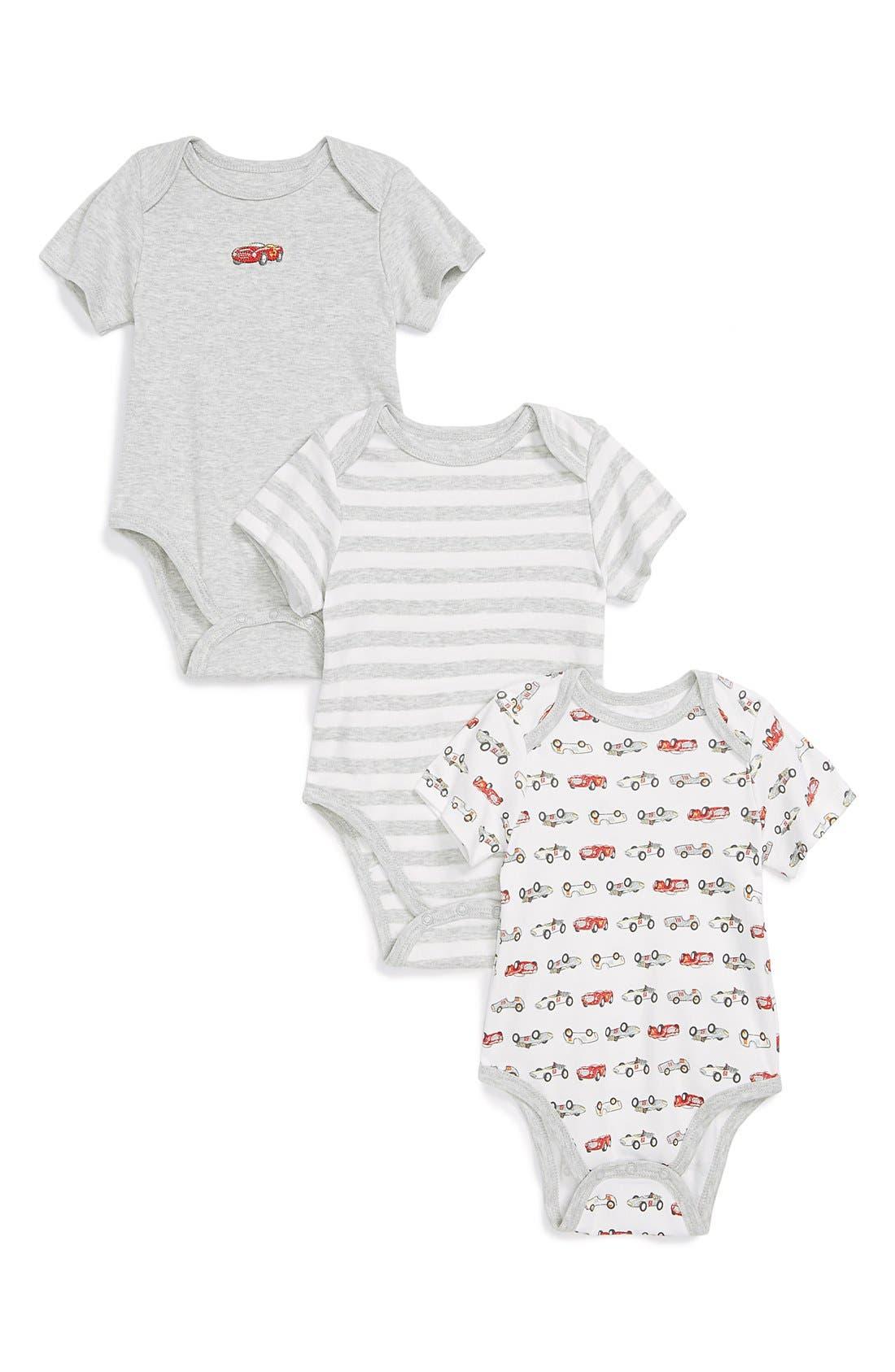 Main Image - Little Me 'Race Car' Bodysuits (Set of 3) (Baby Boys)
