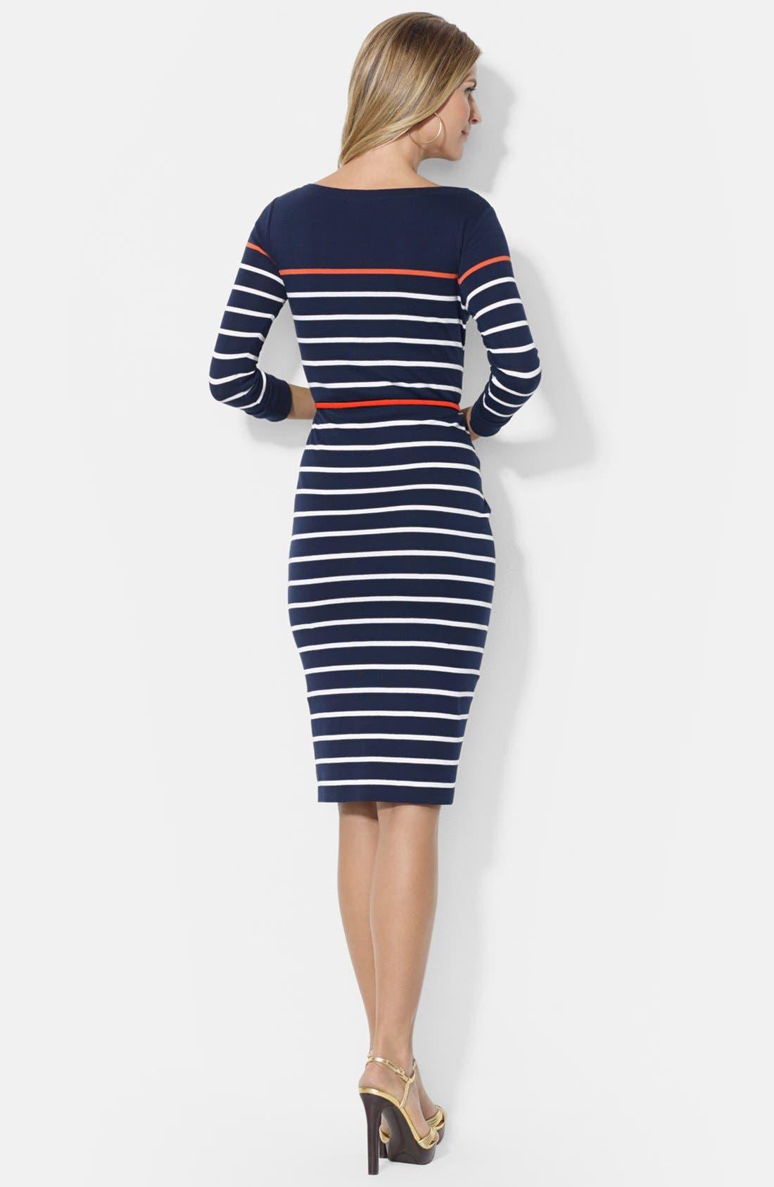 Alternate Image 2  - Lauren Ralph Lauren Stripe Boat Neck Cotton Dress