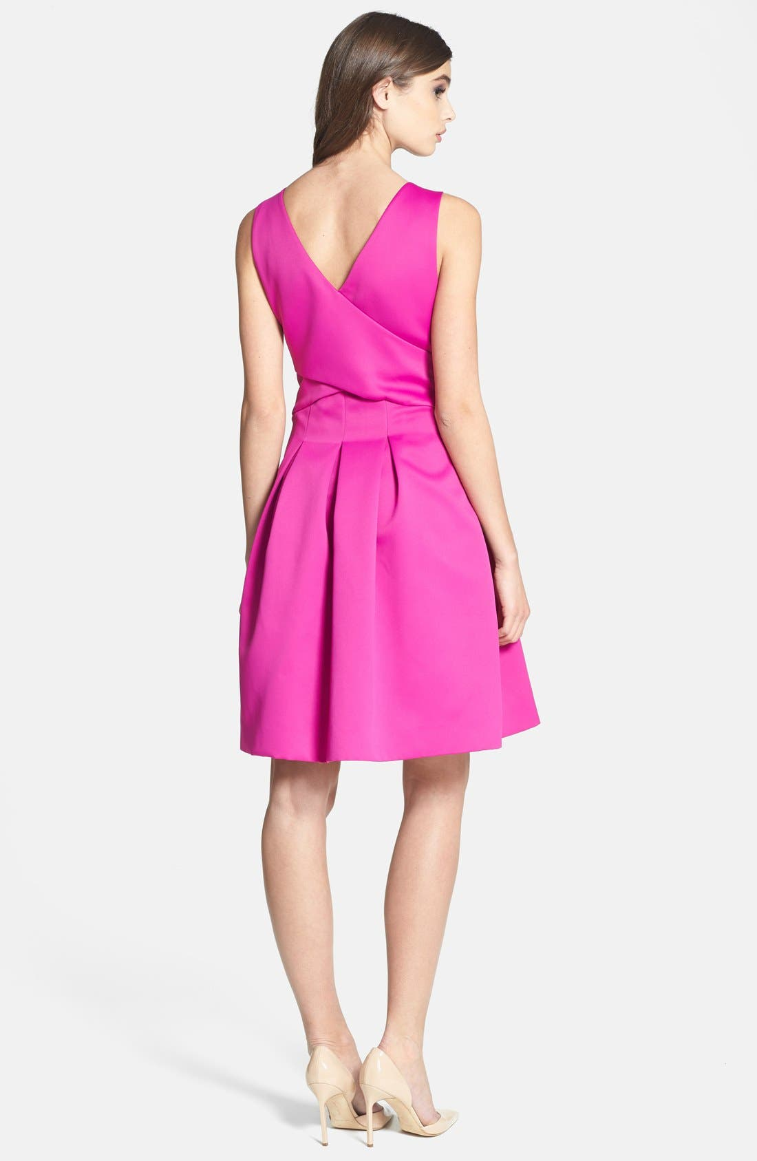Alternate Image 2  - Halston Heritage Double Face Satin Fit & Flare Dress