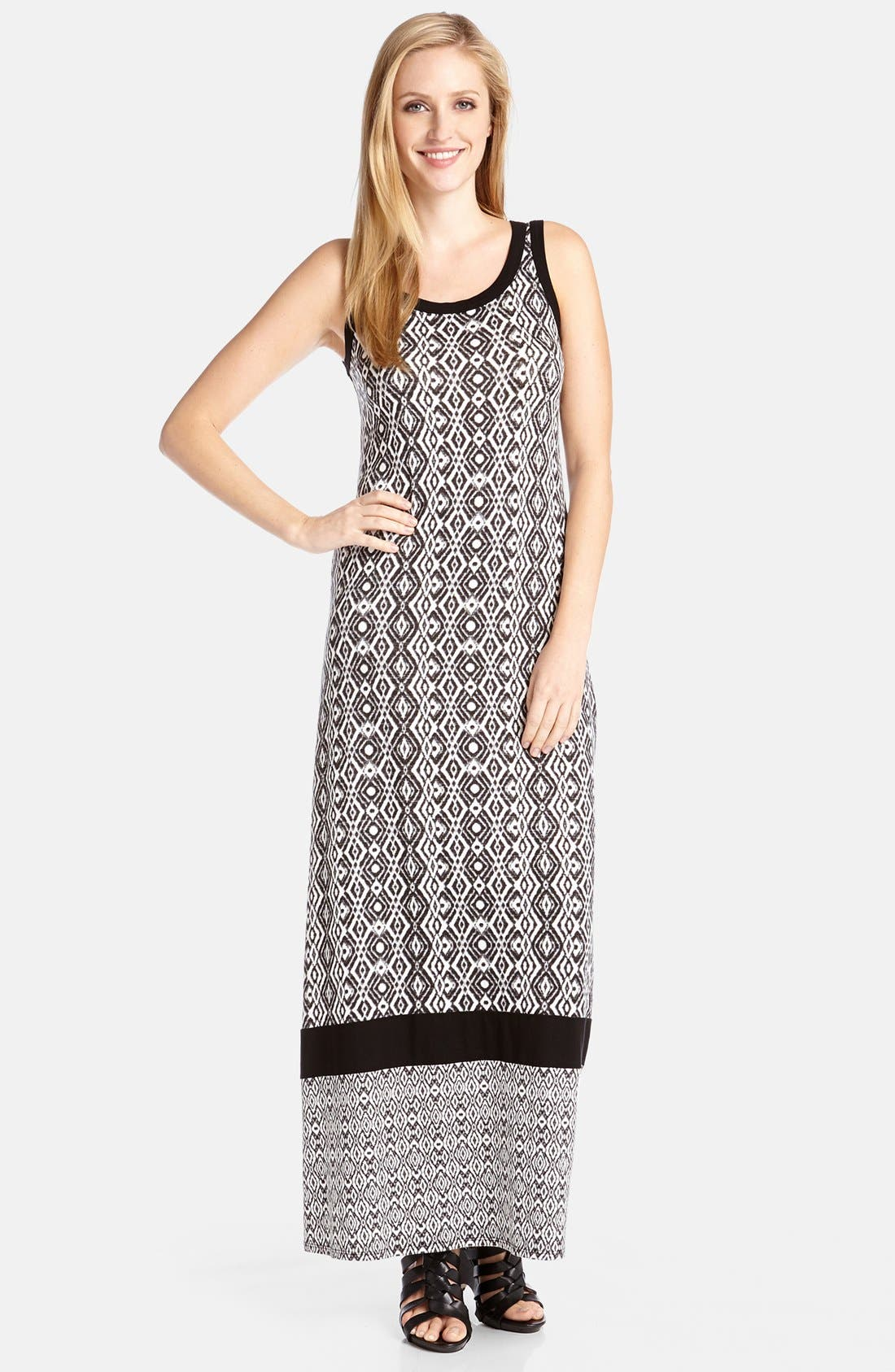 Alternate Image 1 Selected - Karen Kane Contrast Print Tank Style Maxi Dress