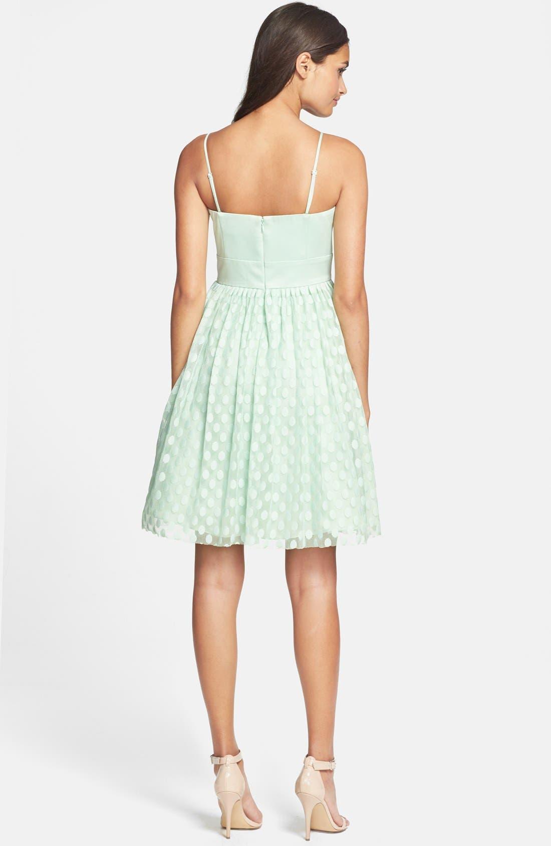 Alternate Image 2  - Eliza J Polka Dot Mesh Fit & Flare Dress