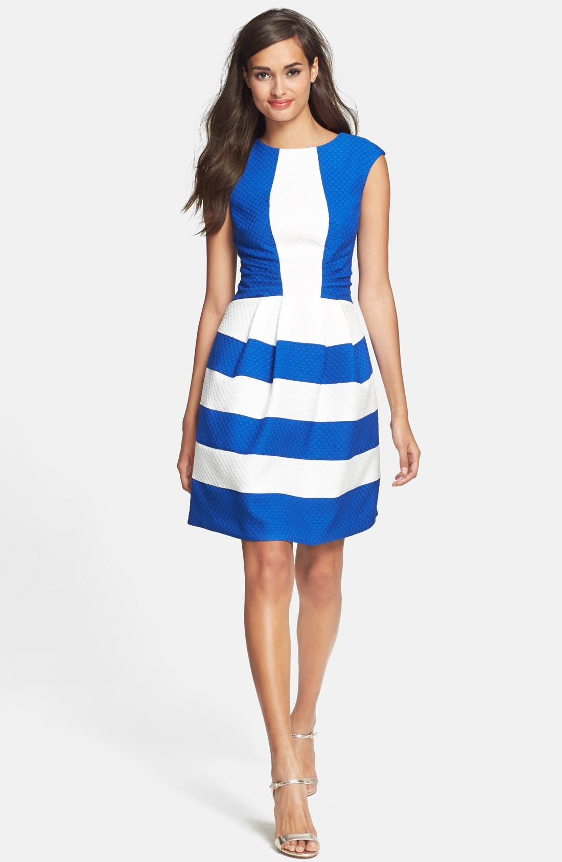 Main Image - Gabby Skye Ruched Colorblock Knit Fit & Flare Dress