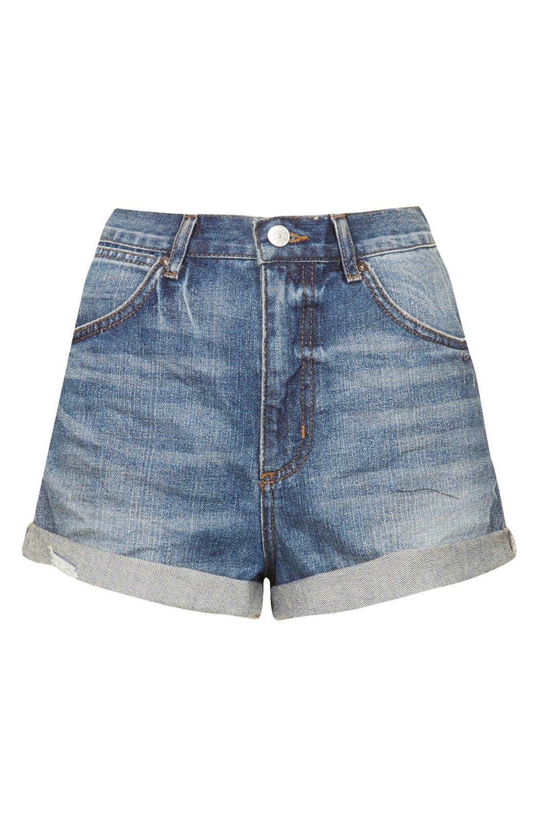 Alternate Image 3  - Topshop Moto 'Rosa' High Rise Denim Shorts (Mid Stone)