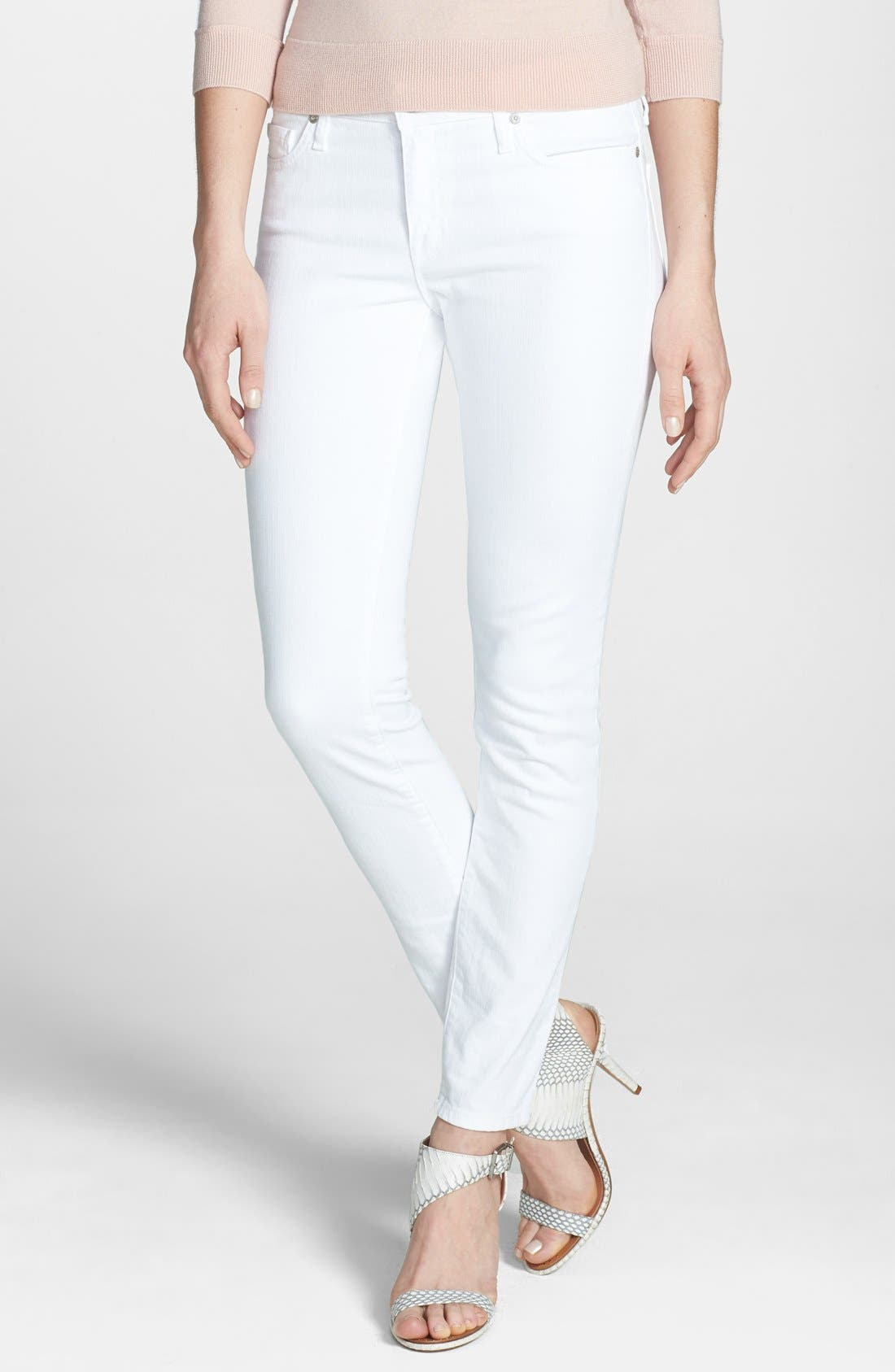 Alternate Image 1 Selected - Joie Mid Rise Stretch Skinny Jeans (Dandelion White)