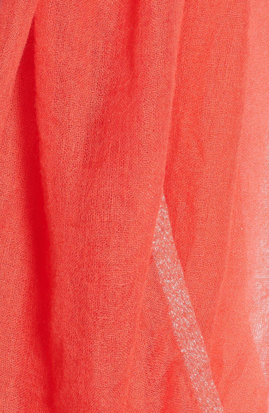 Alternate Image 2  - Eileen Fisher Metallic Stripe Cashmere Scarf