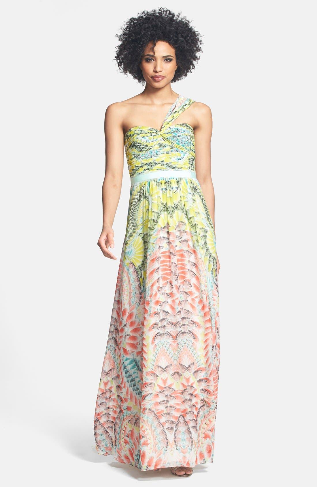 Main Image - BCBGMAXAZRIA Print One-Shoulder Silk Chiffon Maxi Dress