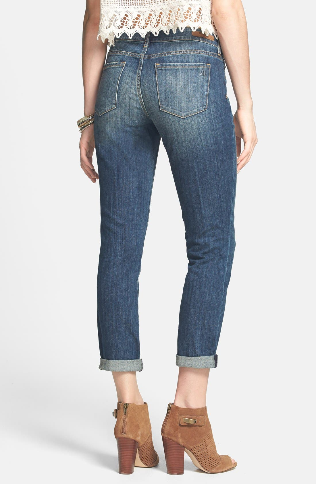 Alternate Image 2  - Articles of Society 'Cindy - Girlfriend' Relaxed Crop Jeans (Medium Wash) (Juniors)