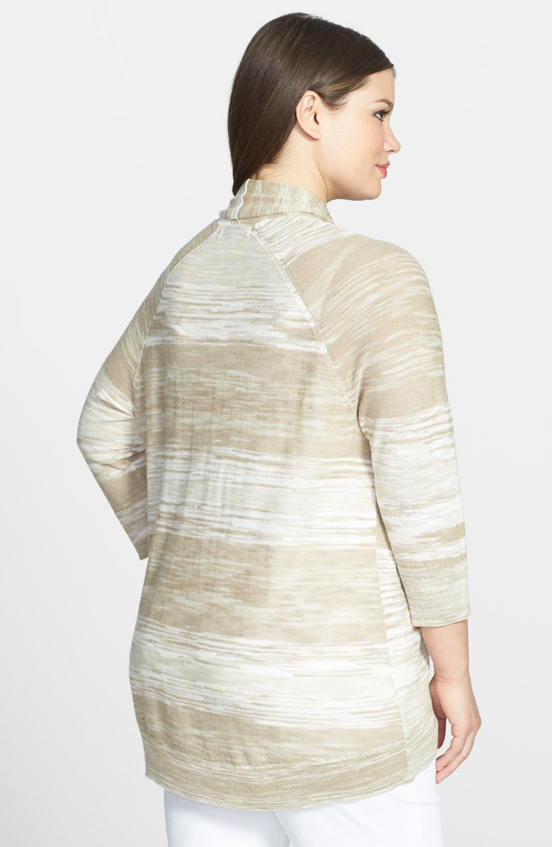 Alternate Image 2  - Sejour Spaced Dyed High/Low Cardigan (Plus Size)