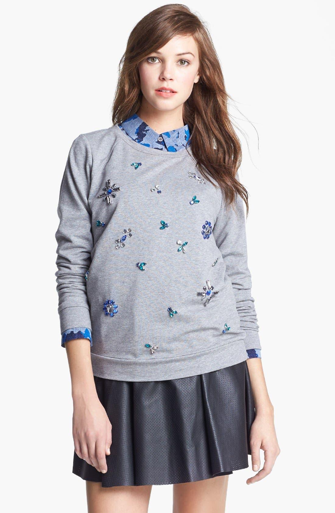 Main Image - Two by Vince Camuto Jeweled Baseball Sweatshirt (Petite)