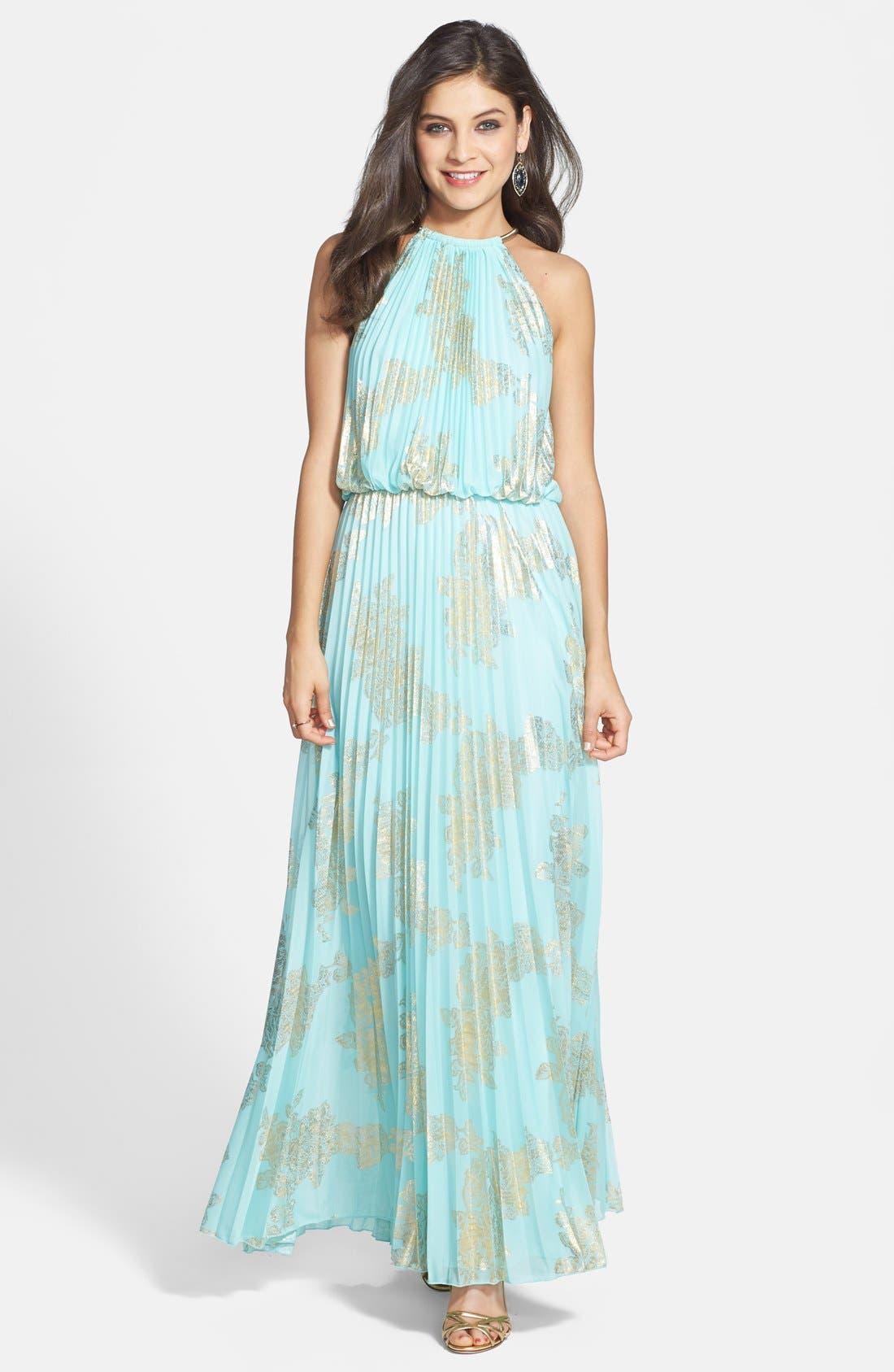 Alternate Image 1 Selected - Xscape Foiled Pleat Blouson Dress