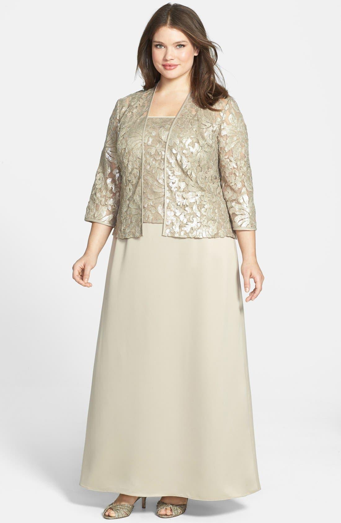 Alternate Image 1 Selected - Alex Evenings Embellished Chiffon Gown & Jacket (Plus Size)
