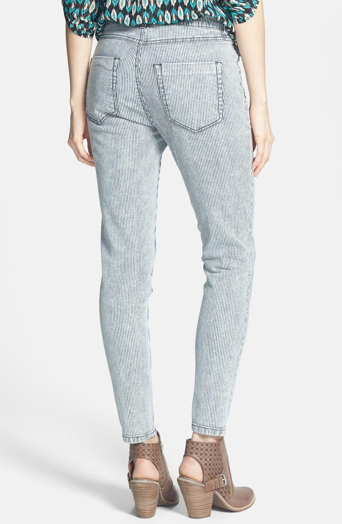 Alternate Image 2  - Fire High Waist Skinny Jeans (Railroad Stripe) (Juniors)