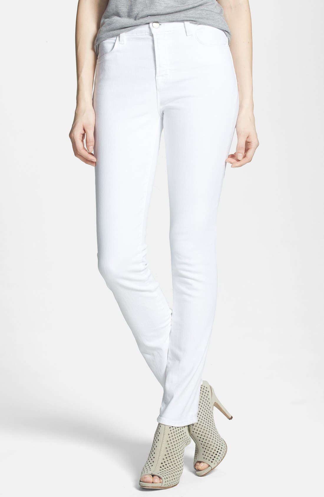 Alternate Image 1 Selected - J Brand 'Rail' High Rise Skinny Jeans (Blanc)